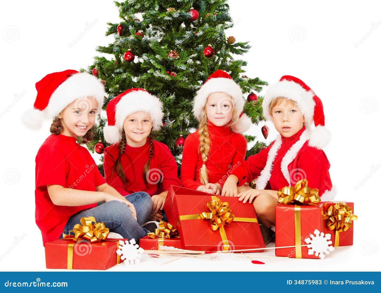Weihnachten Scherzt In Sankt-Hut Mit Der Geschenkgeschenkbox, Die ...