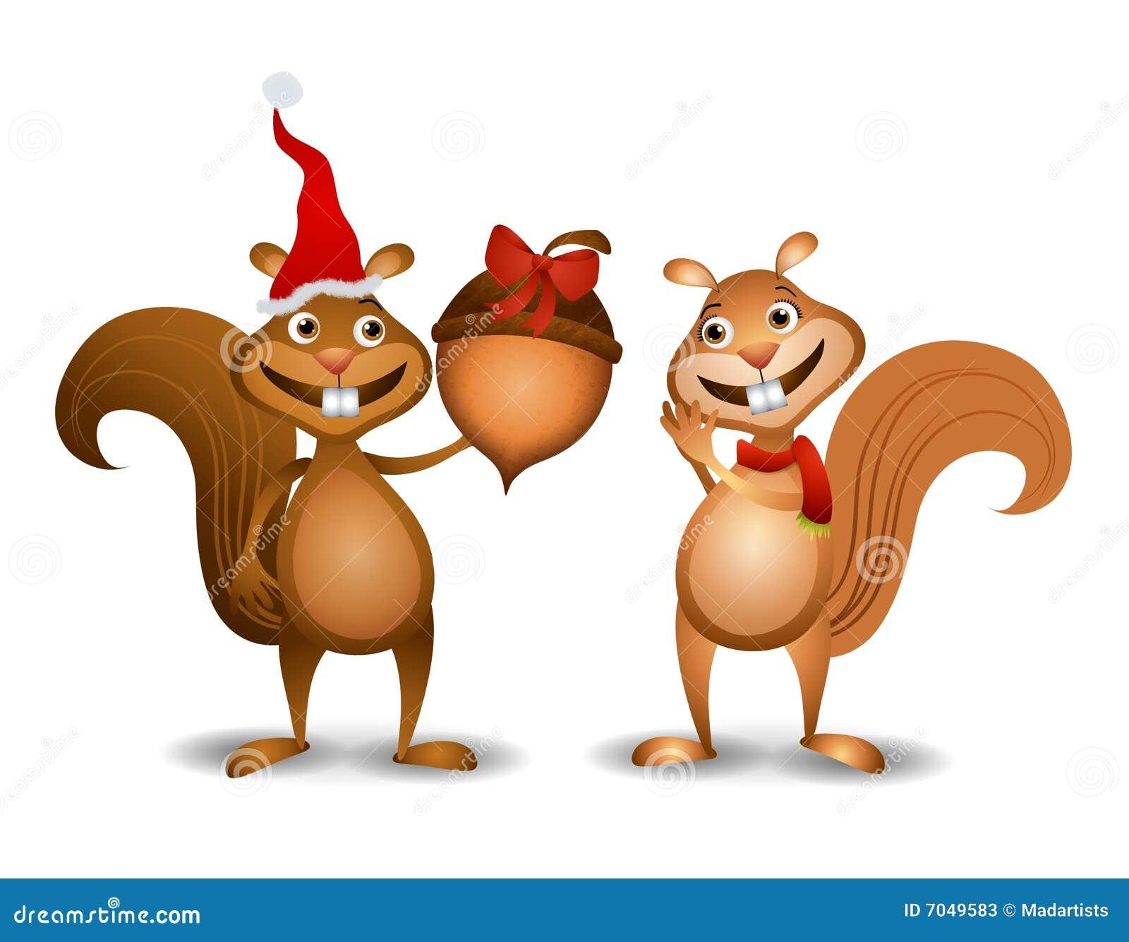 Weihnachten Squirrels Eichel Stock Abbildung - Illustration von frau ...