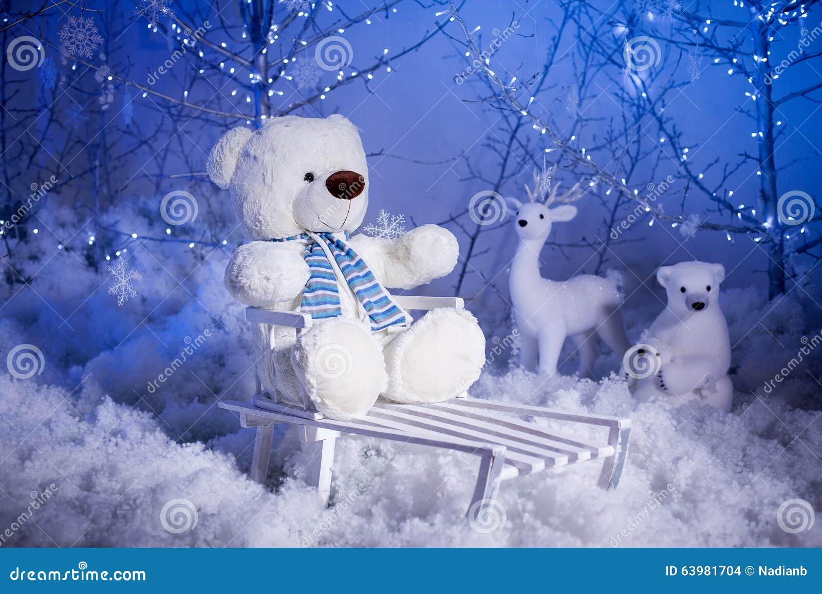 Teddy Weihnachten.Weihnachten Teddy Bear Stockfoto Bild Von Kindheit Magie 63981704