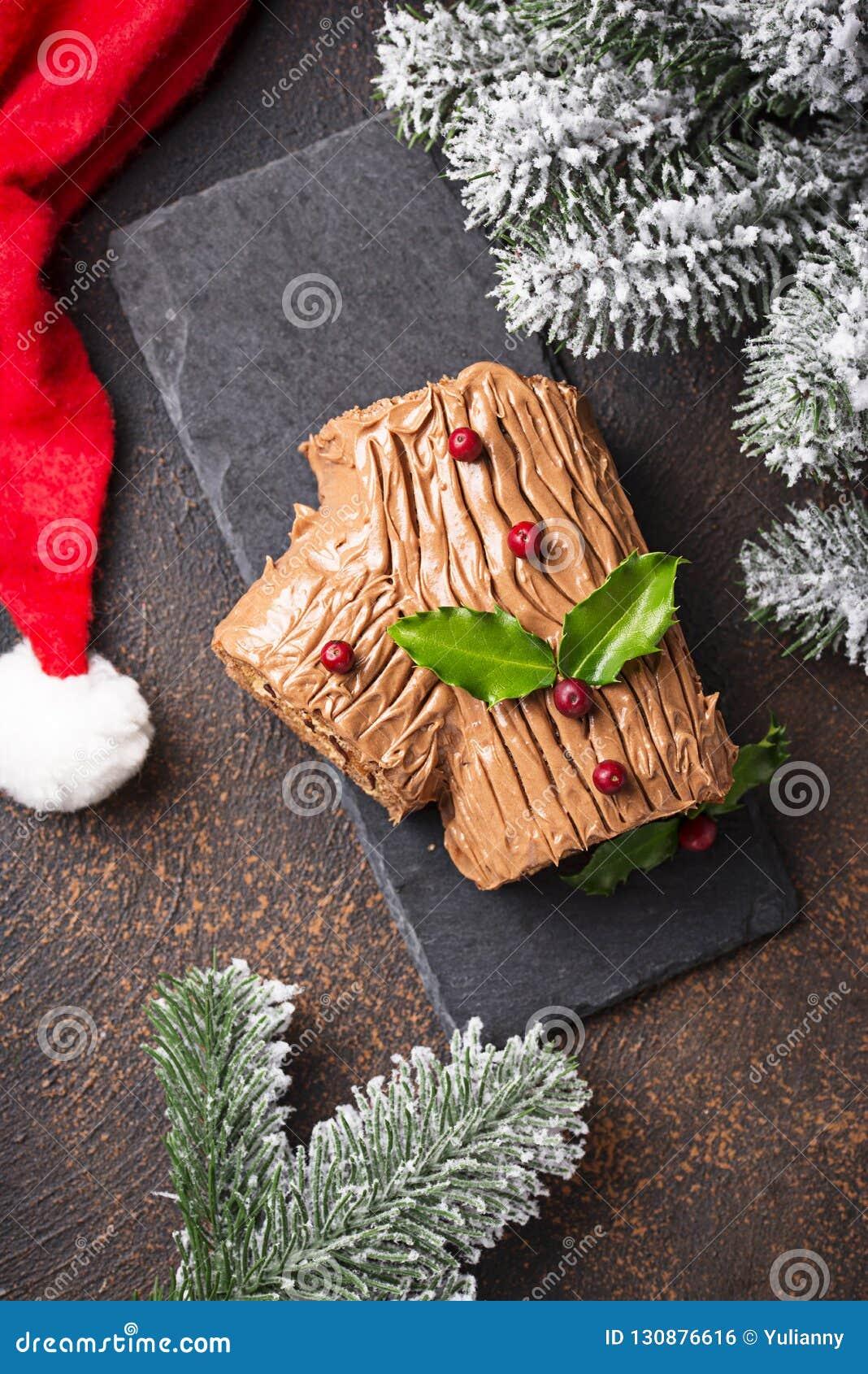 Weihnachten Yule Log Cake Traditioneller Schokoladennachtisch