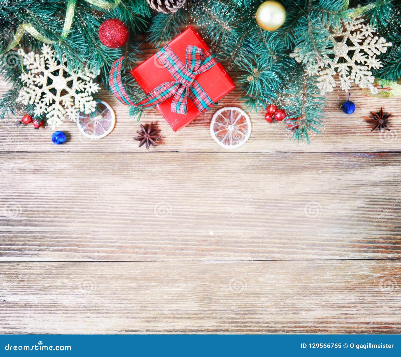 Weihnachts- oder guten Rutsch ins Neue Jahr-Dekorationshintergrund Zusammensetzung f