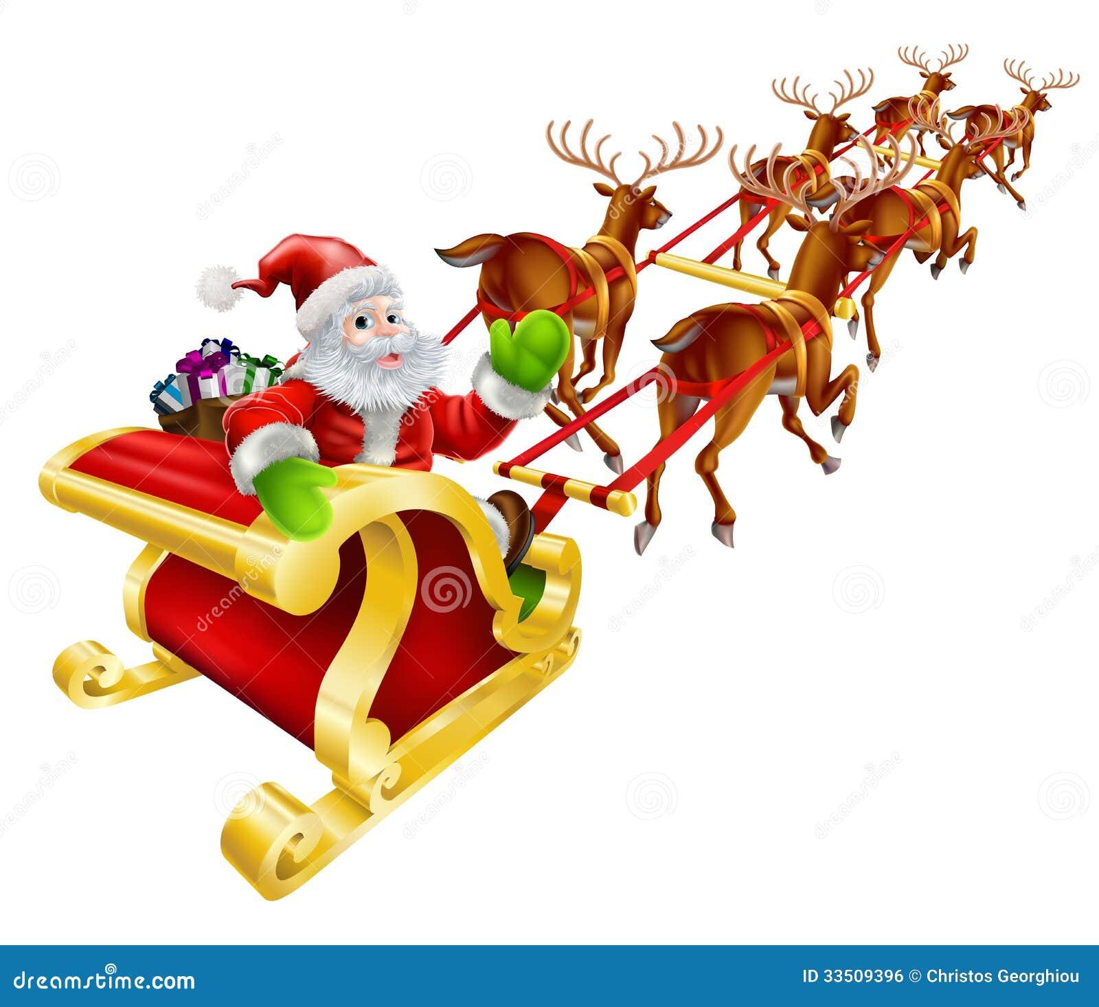 weihnachts santa claus fliegen im pferdeschlitten. Black Bedroom Furniture Sets. Home Design Ideas