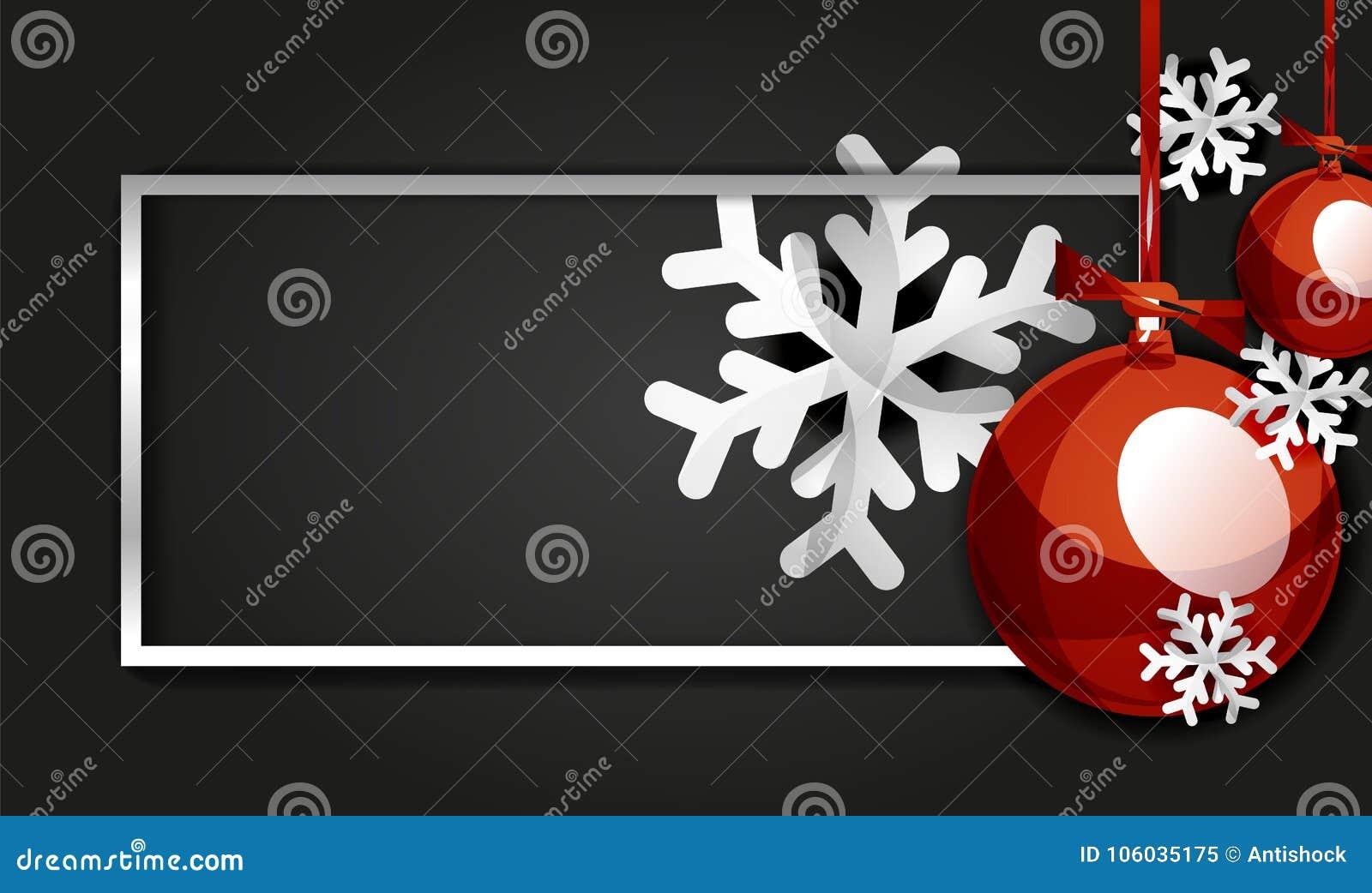 Weihnachts- und des neuen Jahresfahnenkarte, Weihnachtsbälle, schwarzer Hintergrund