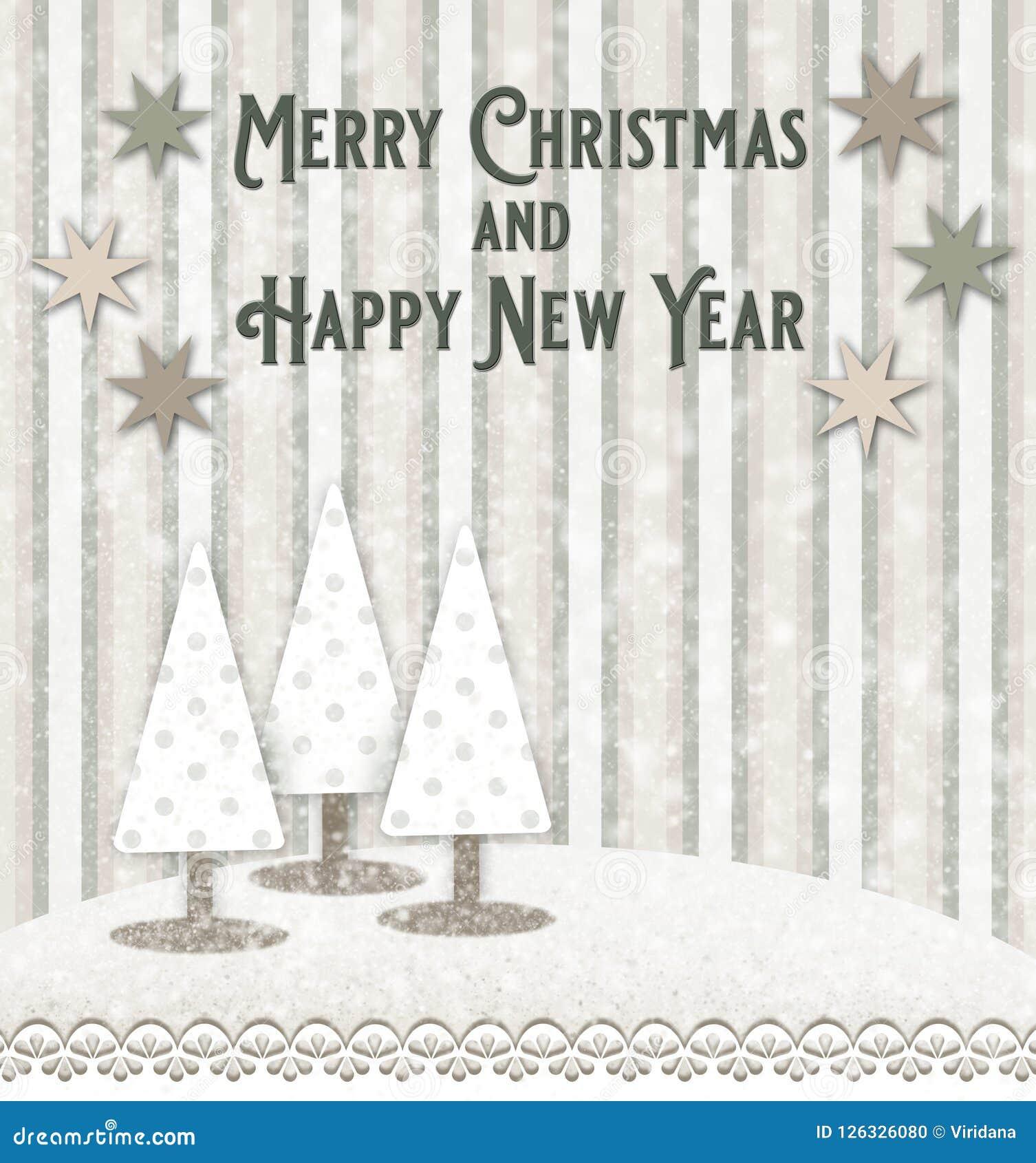 Weihnachts- und des neuen Jahresgrußkarte mit Baum Weihnachtsbäumen in einer schneebedeckten Landschaft