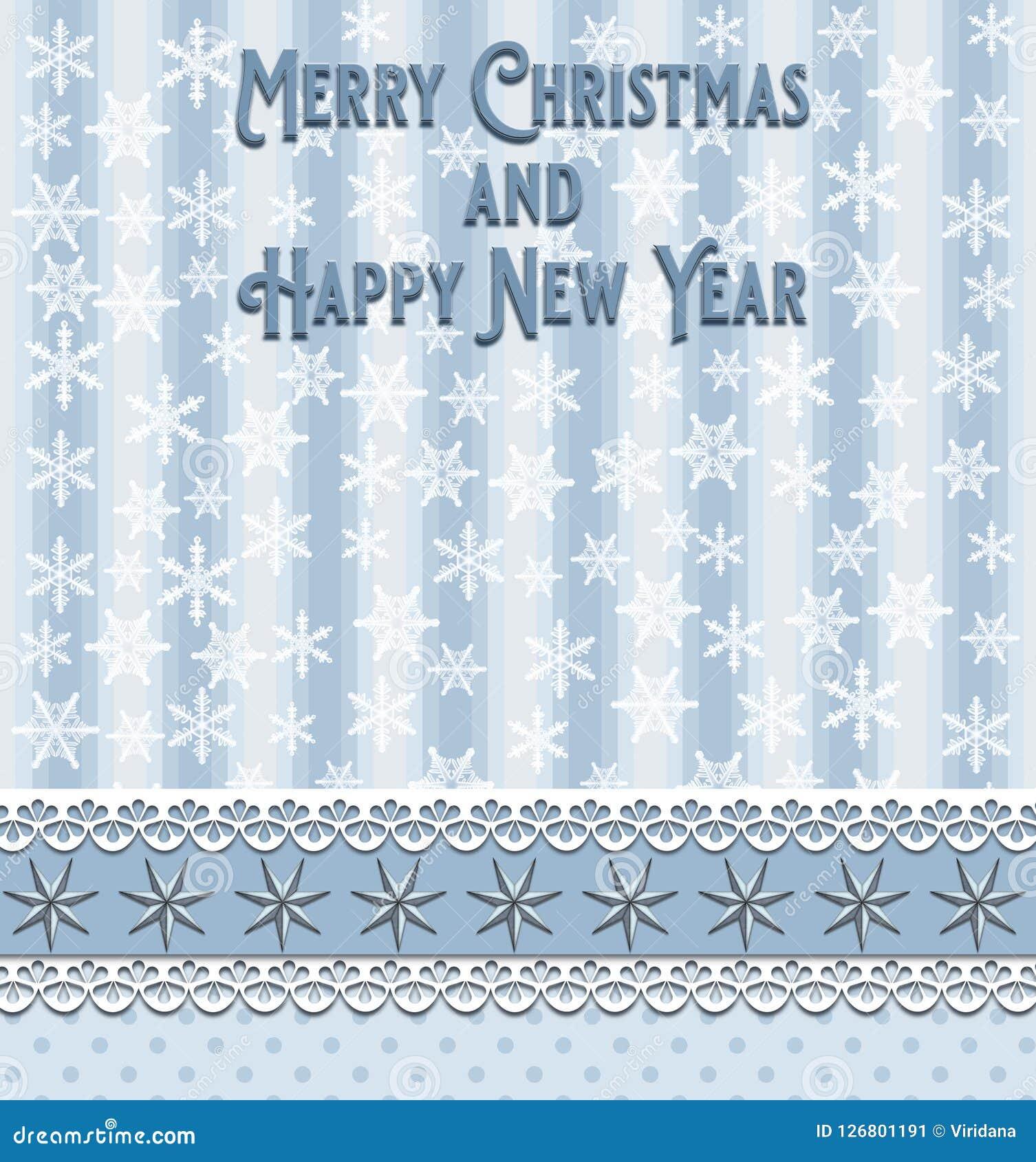 Weihnachts- und des neuen Jahresgrußkarte mit Punkten der blauen Streifen spielt und weiße Schneeflocken die Hauptrolle