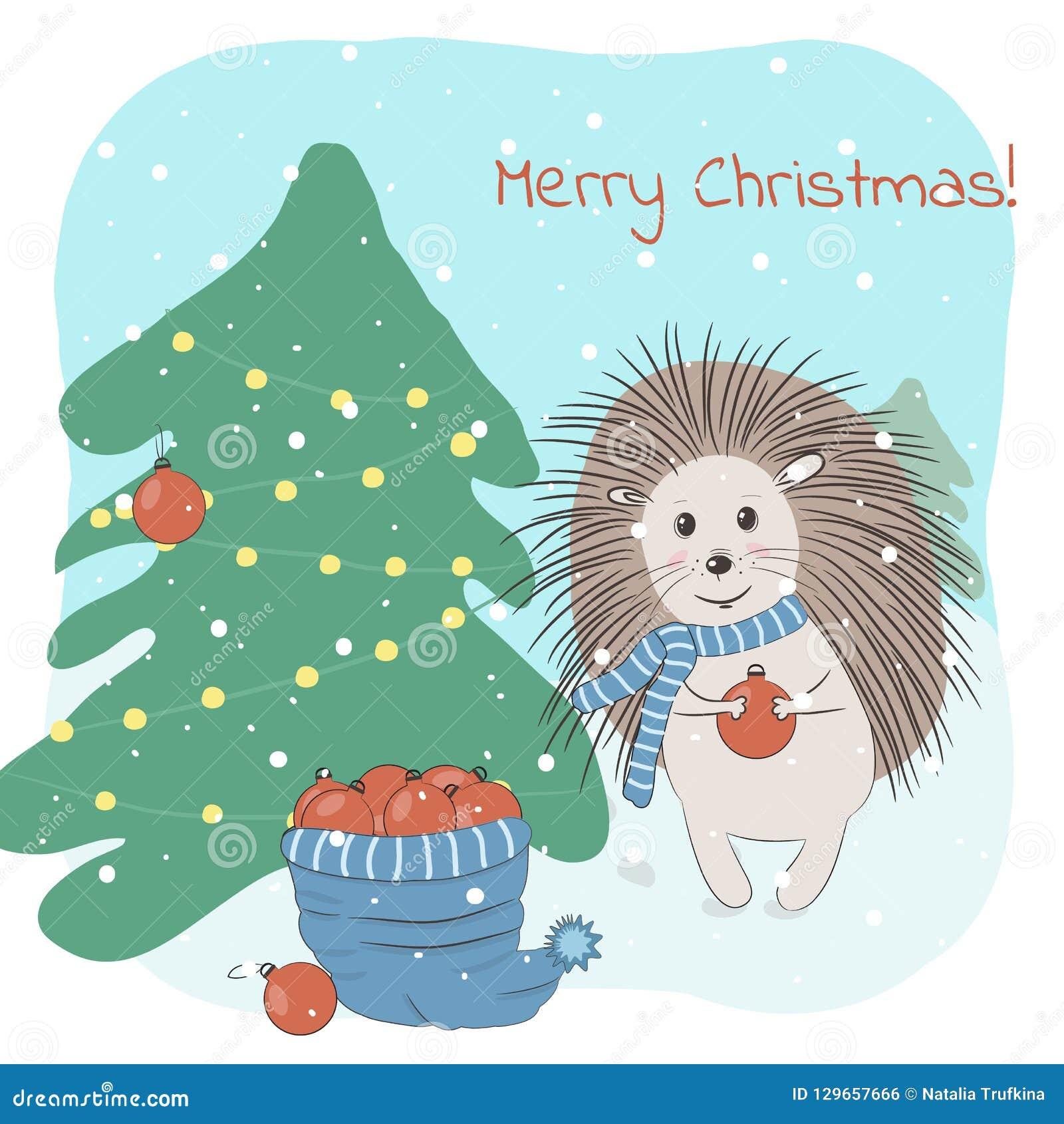 Das Tannenbaum.Weihnachts Und Wintervektorillustration Mit Dem Reizenden Igelen
