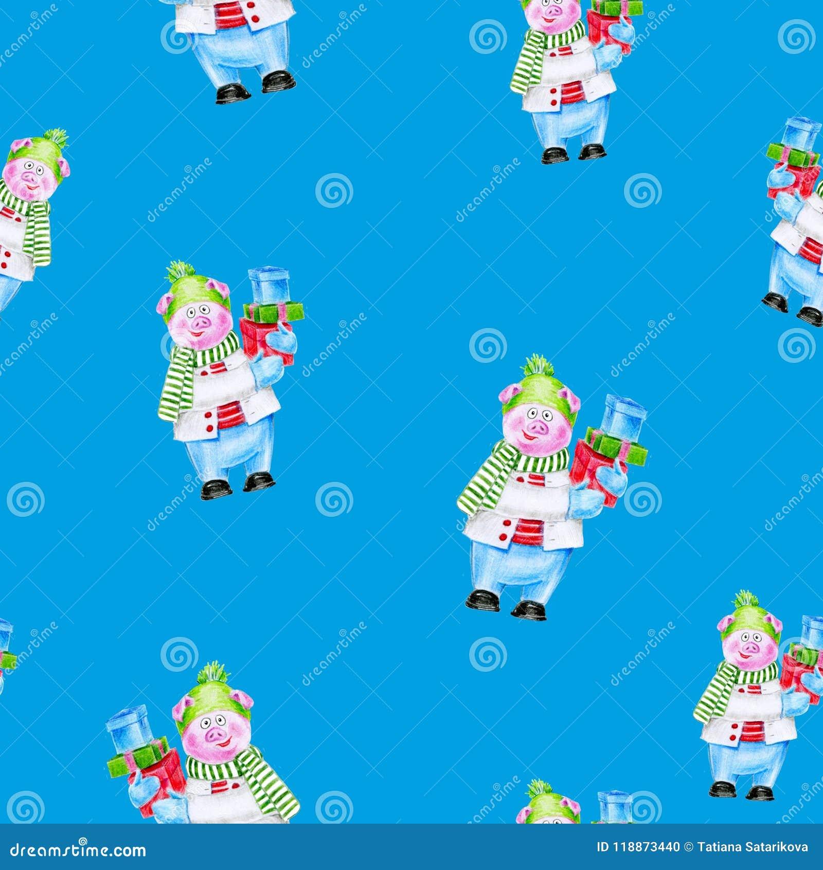 Weihnachtskarten Einladung.Weihnachtsaquarell Piggy Mit Geschenken Symbol Des Jahres 2019 Kann