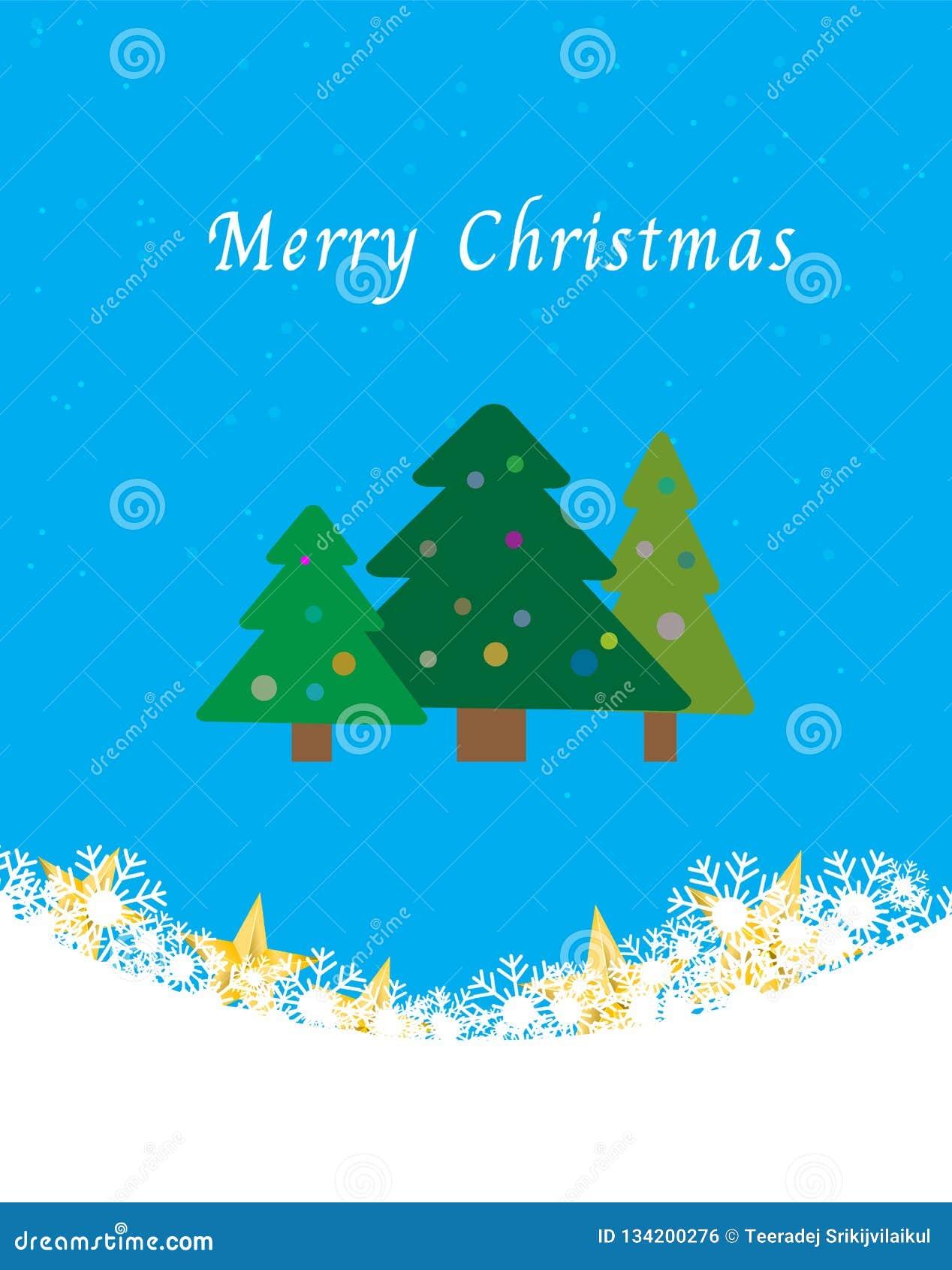 Weihnachtsbäume auf blauem Hintergrund mit Schnee