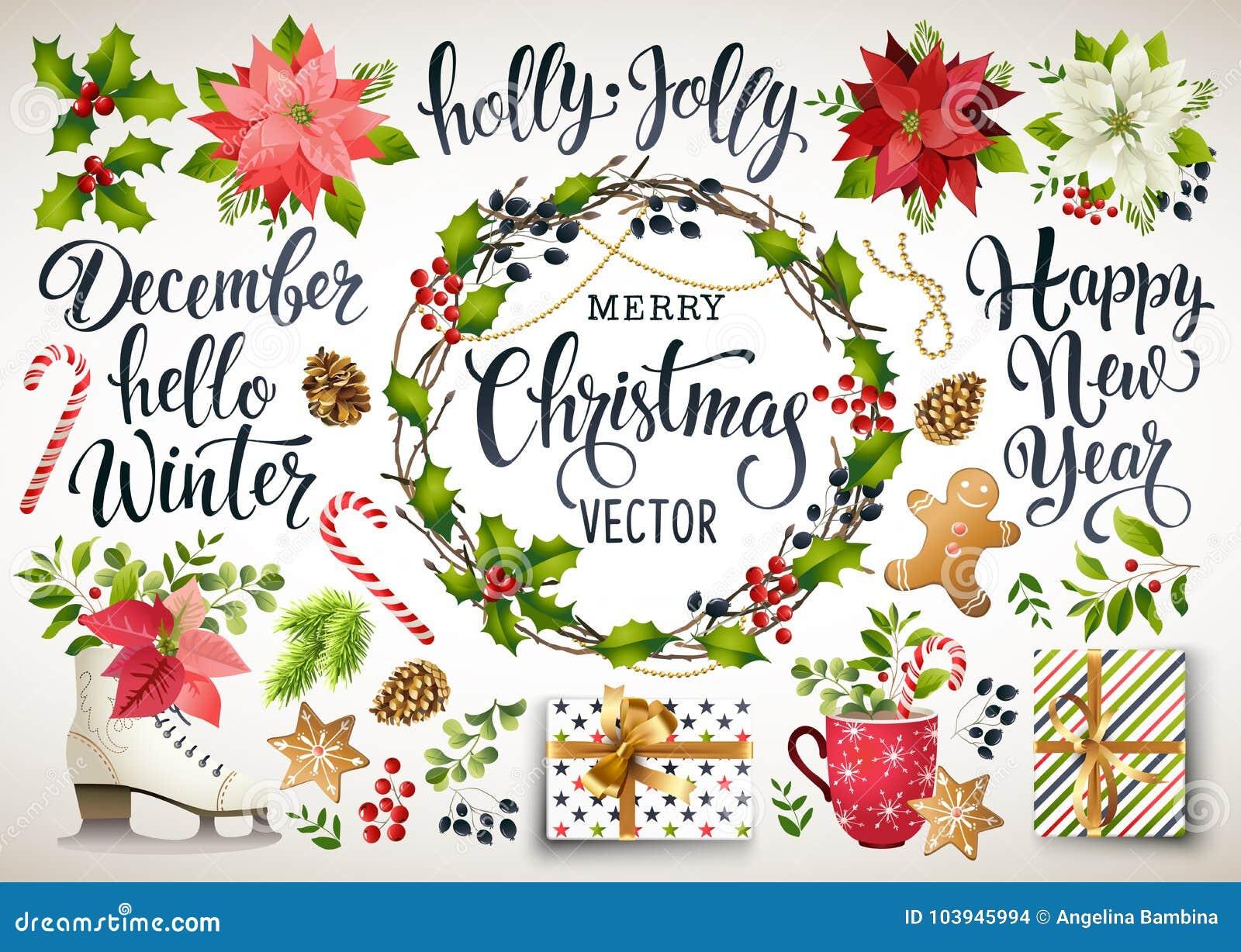 Weihnachtsbühnenbild der Poinsettias, der Tannenzweige, der Kegel, der Stechpalme und anderer Anlagen Abdeckung, Einladung, Fahne