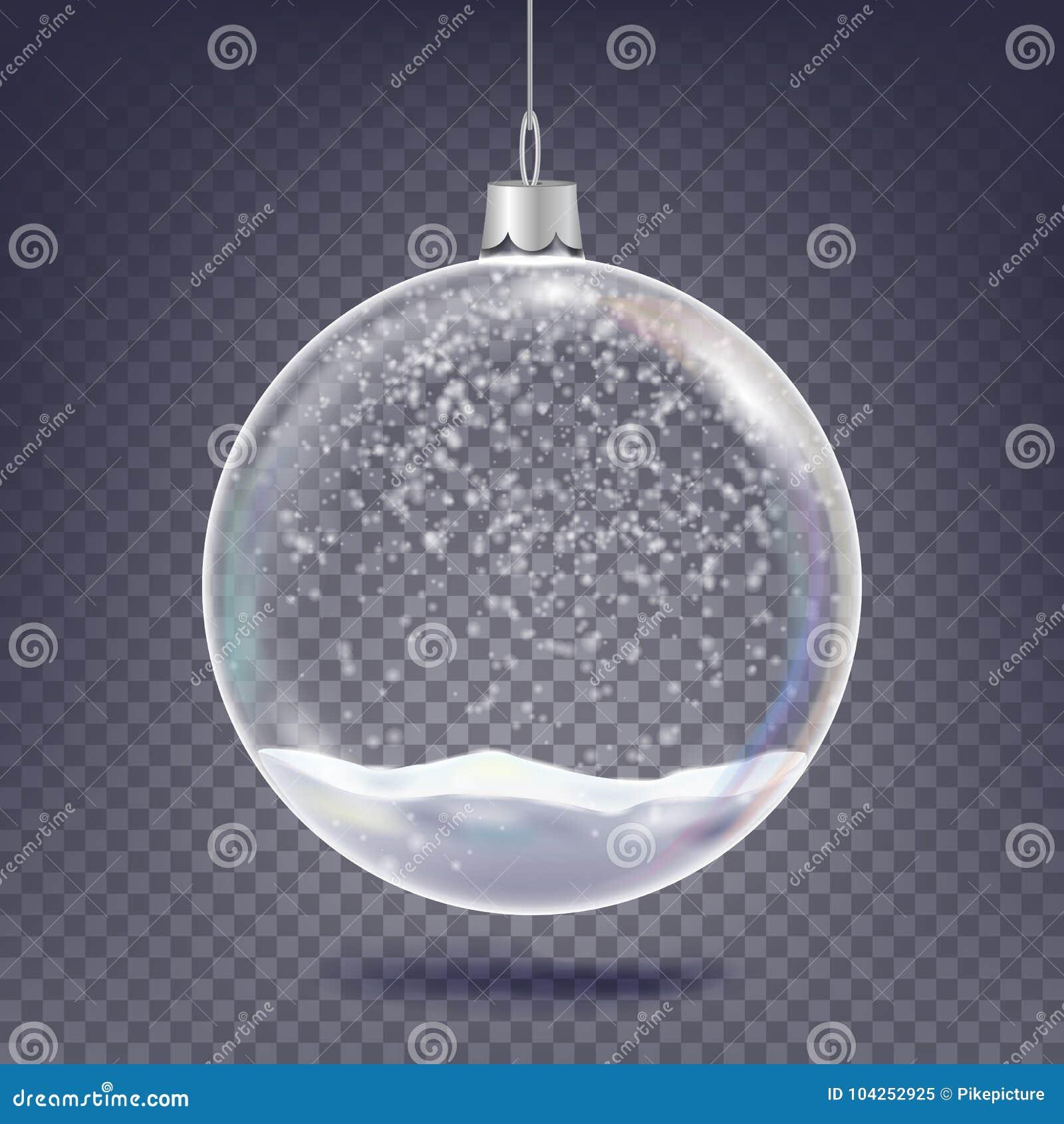 Weihnachtsballvektor Klassischer Weihnachtsbaum-Glasdekorations-Element Glänzender Schnee, Schneeflocke 3D realistisch Auf