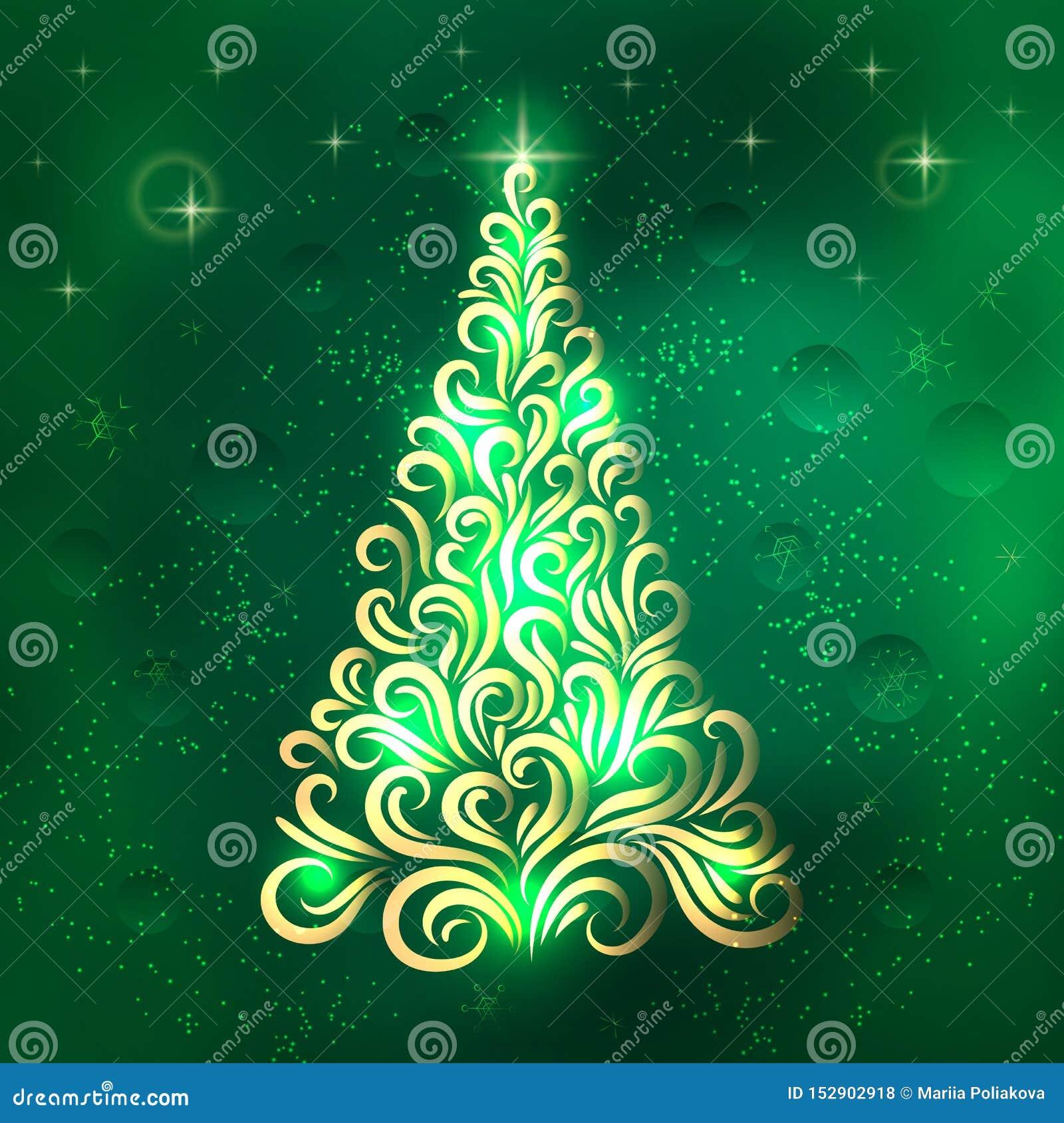 Weihnachtsbaum in den Grün- und Goldfarben Einladung des neuen Jahres gl?ckwunsch feier Winter Schneeflocken Sterne Vektorversion