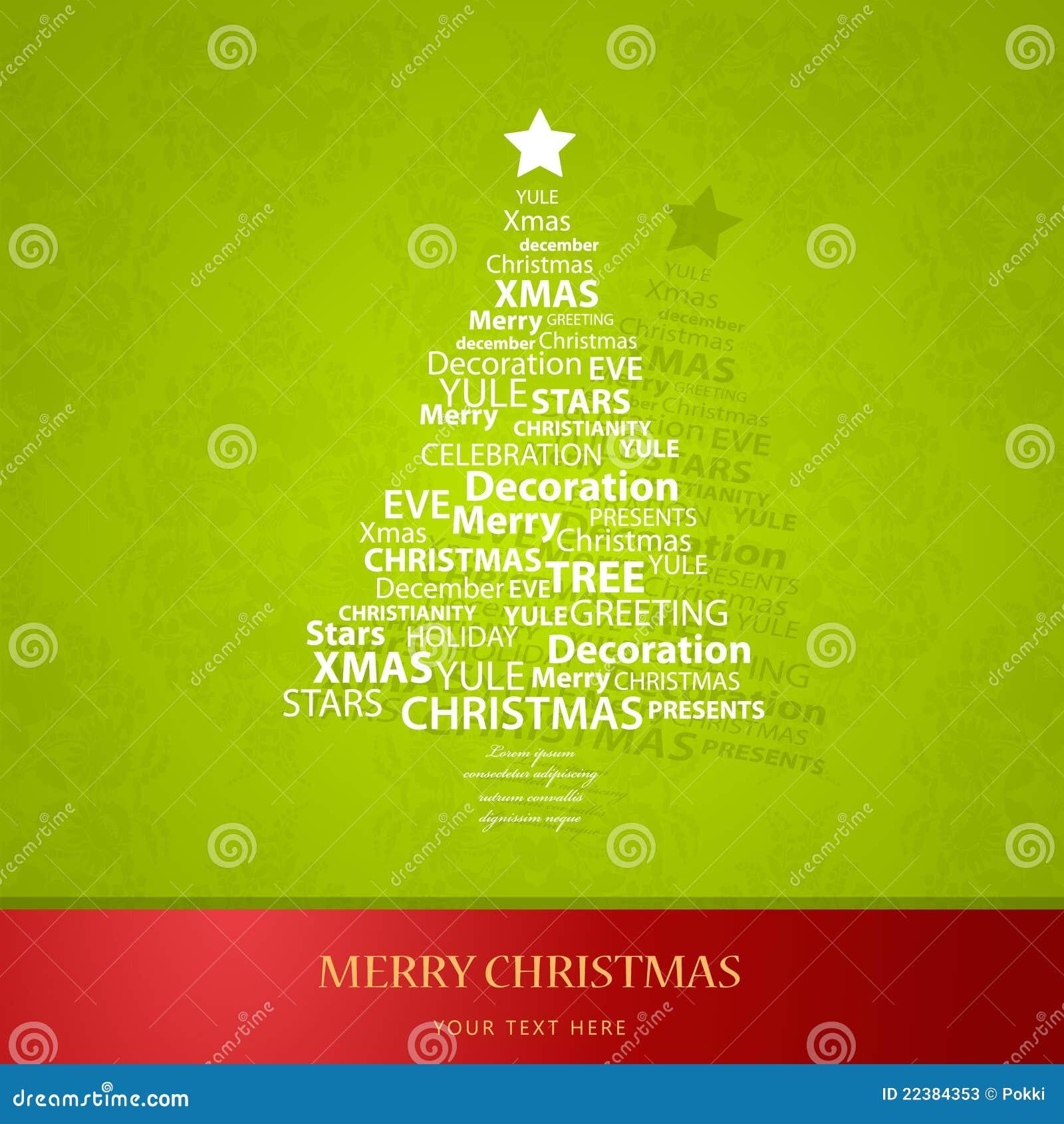 Weihnachtsbaum Der Weihnachtswörter. Vektor Abbildung - Illustration ...