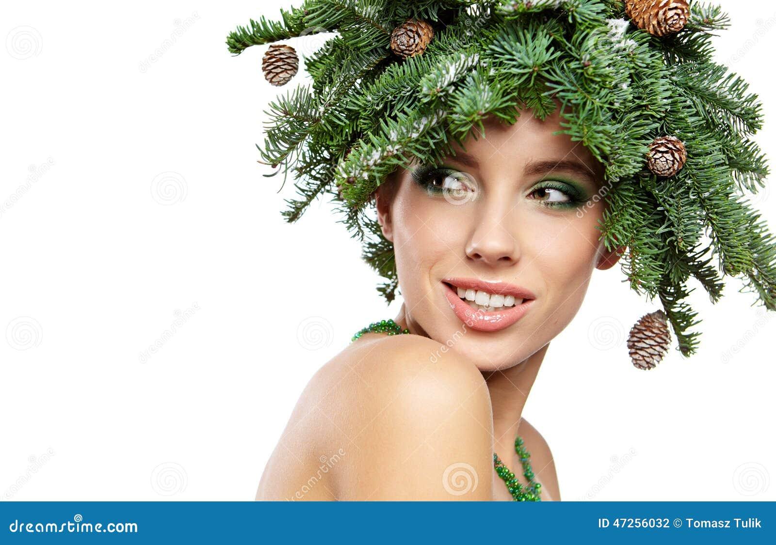 Weihnachtsbaum Feiertags Frisur Und Machen Stockfoto Bild Von