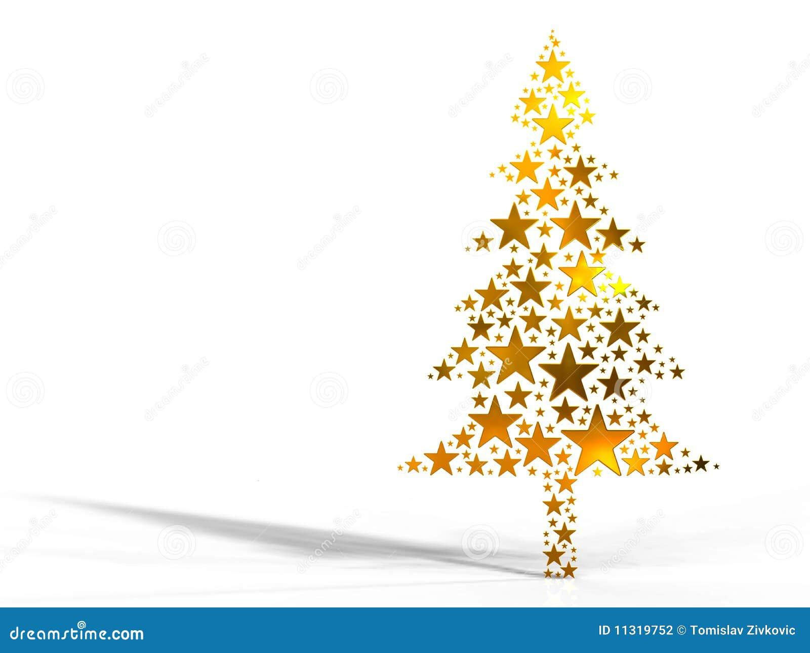 Weihnachtsbaum gebildet von den goldenen Sternen