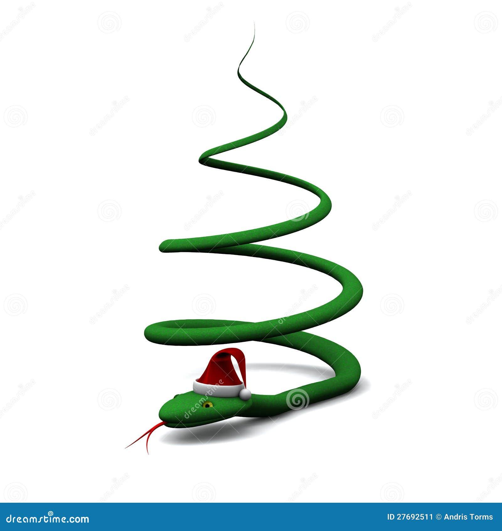 Weihnachtsbaum Gebildet Von Der Schlange 3d Stock Abbildung ...
