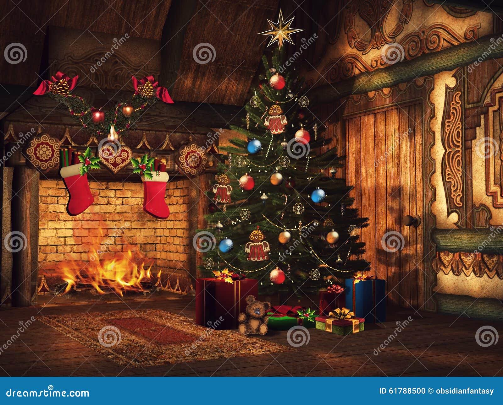 Weihnachtsbaum, Geschenke Und Ein Kamin Stock Abbildung ...