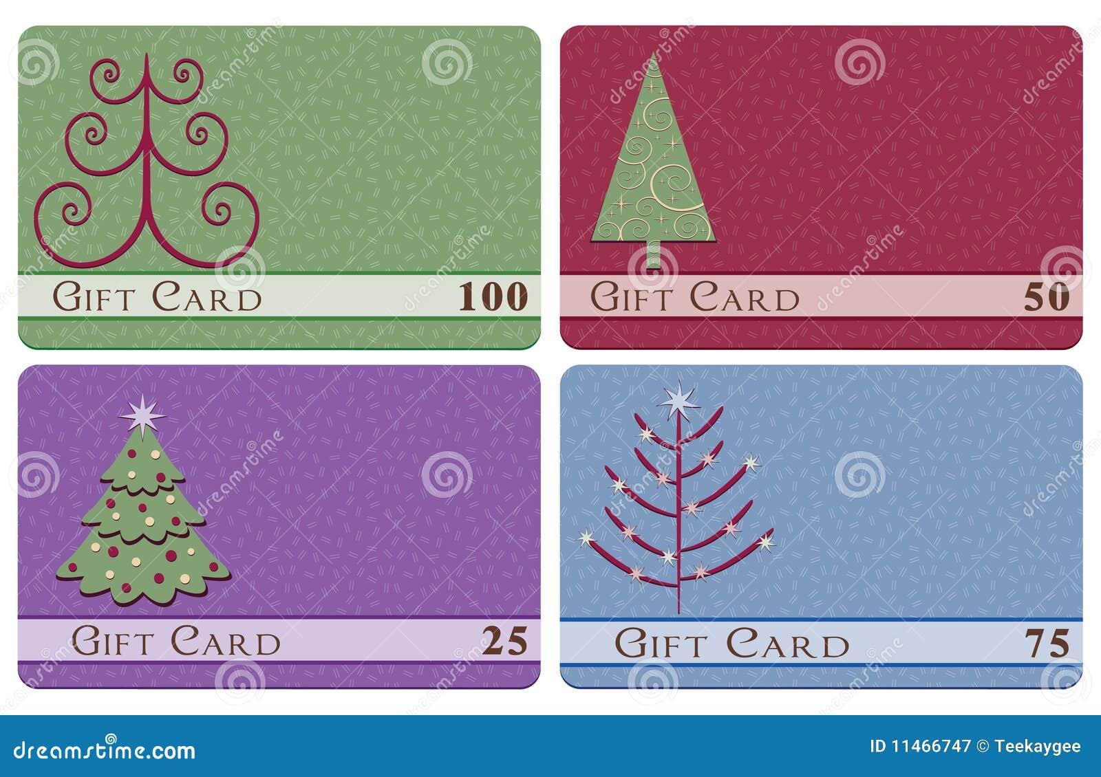 Weihnachtsbaum-Geschenkkarten Vektor Abbildung - Illustration von ...