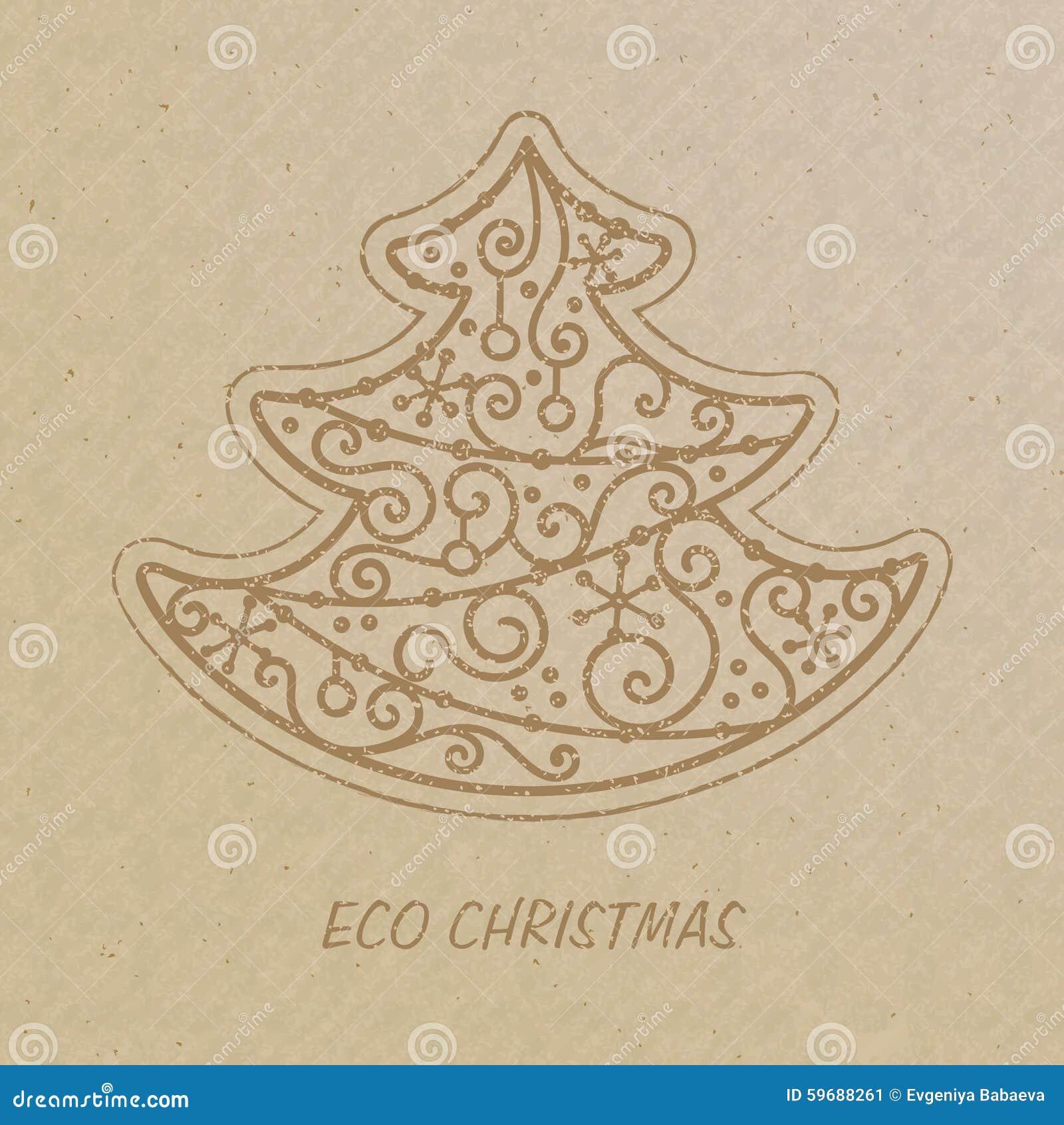 weihnachtsbaum gezeichnet auf ein kraftpapier vektor. Black Bedroom Furniture Sets. Home Design Ideas