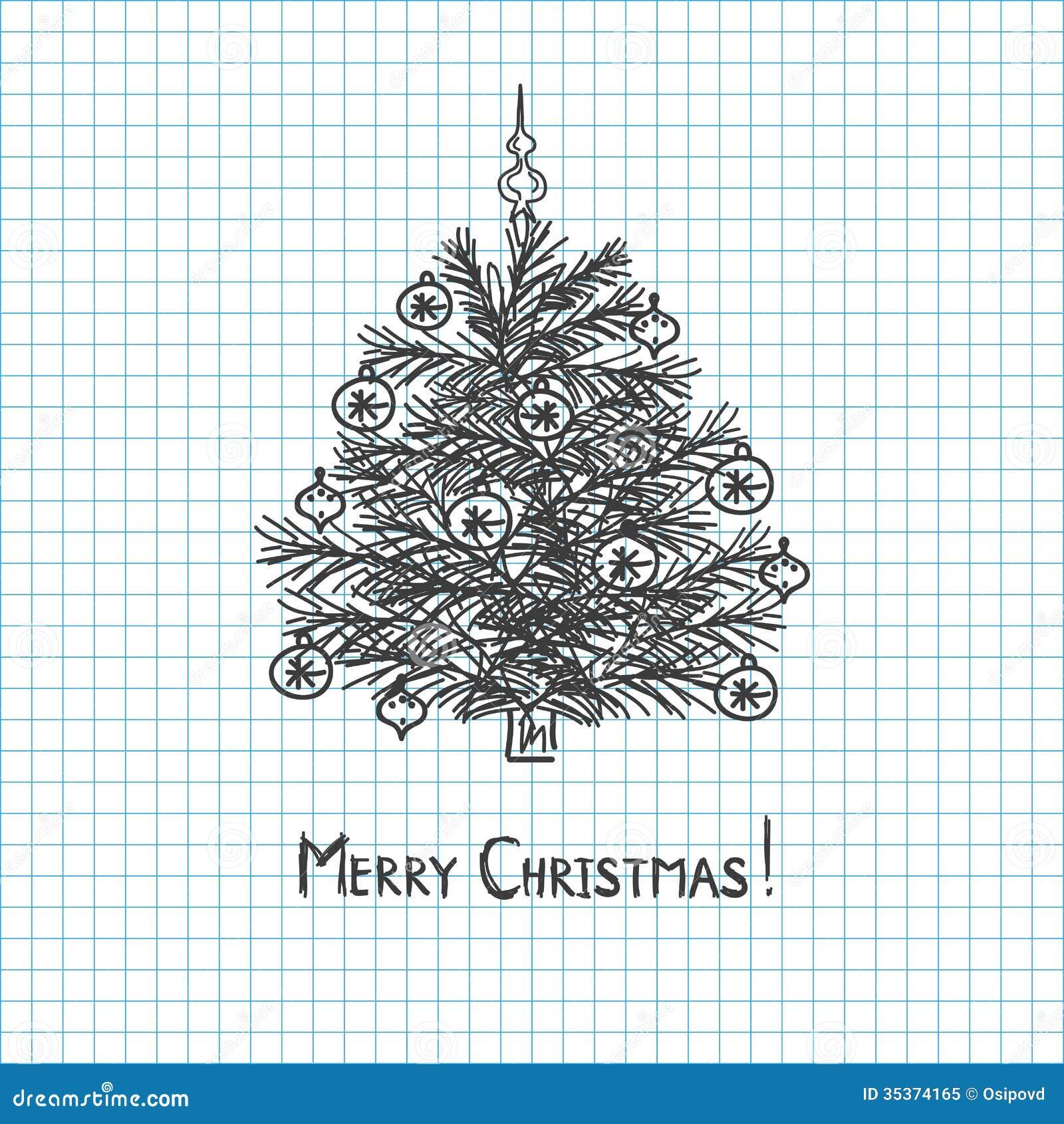 weihnachtsbaum gezeichnet in stiftnotizbuch lizenzfreies. Black Bedroom Furniture Sets. Home Design Ideas