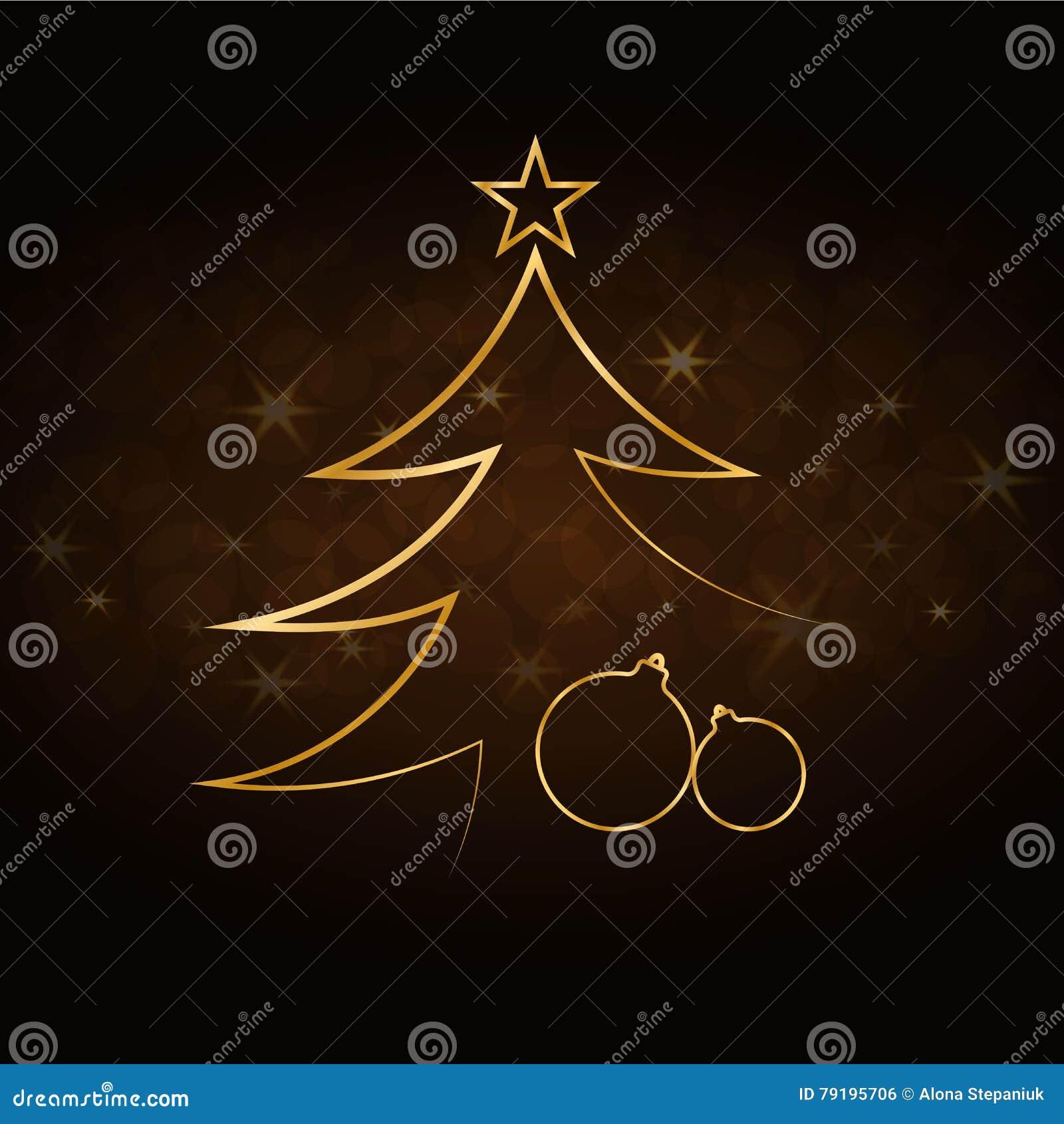 Weihnachtsbaum Guten Rutsch Ins Neue Jahr-Goldhintergrund Stock ...