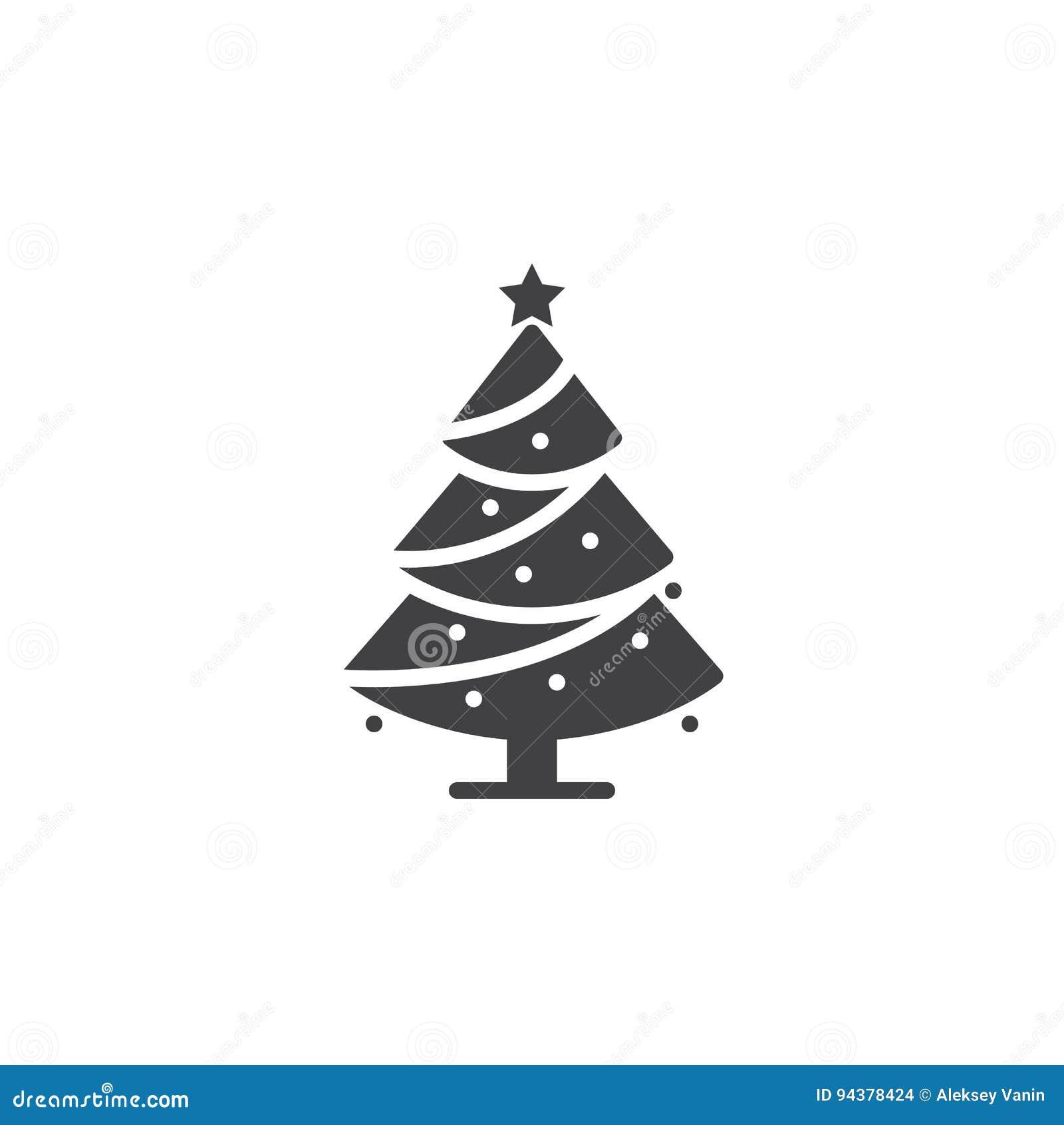 Symbol Weihnachtsbaum.Weihnachtsbaum Ikonenvektor Verzierter Nadelbaum Füllte Flaches