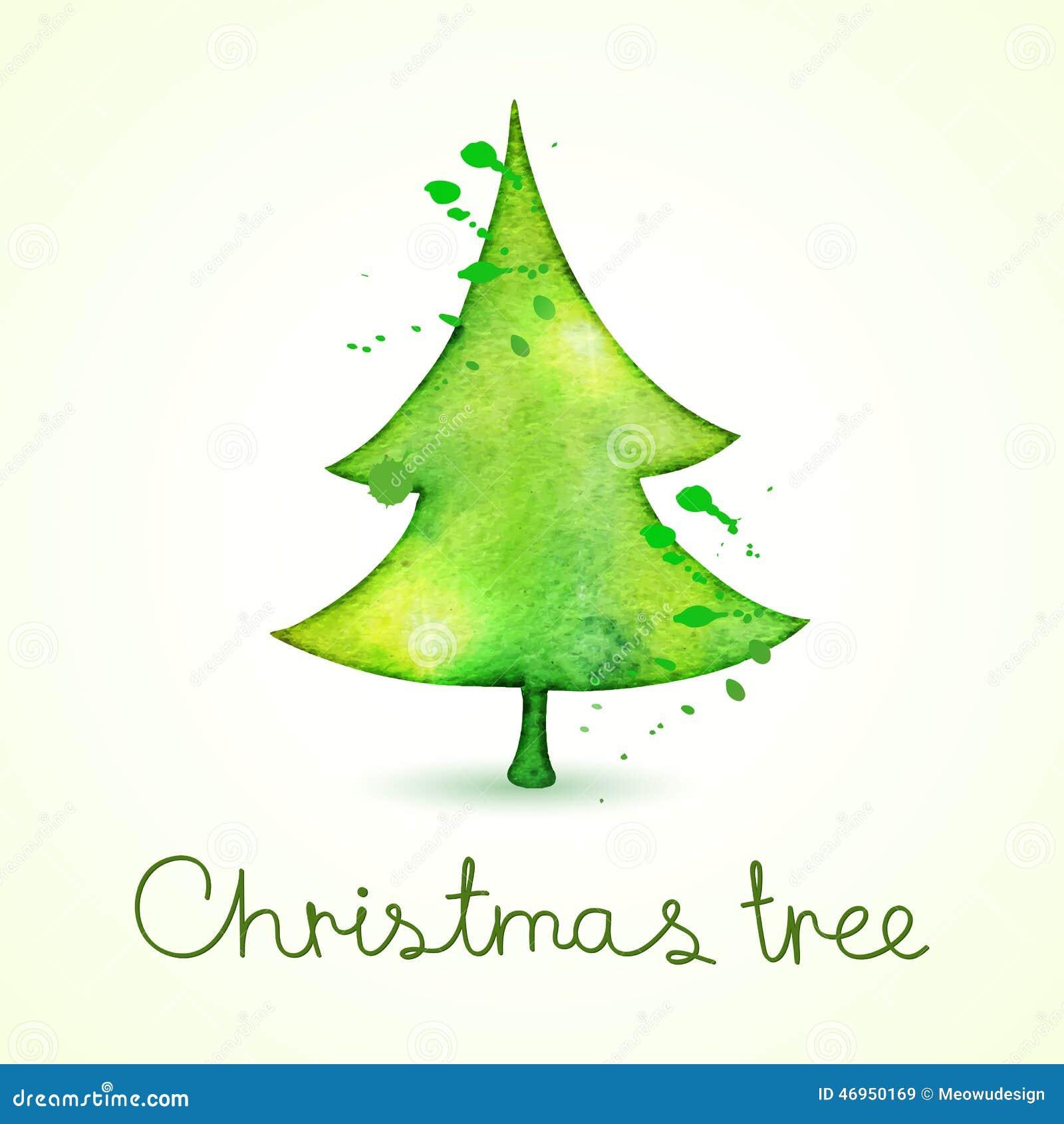 weihnachtsbaum im aquarell das art neigt vektor. Black Bedroom Furniture Sets. Home Design Ideas