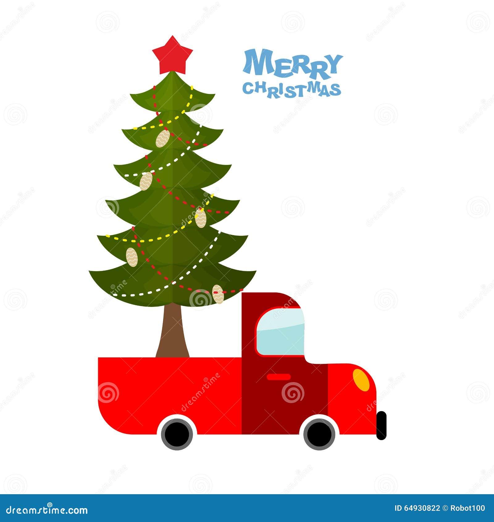Auto Weihnachtsbaum.Weihnachtsbaum Im Auto Lkw Transportiert Verzierten Weihnachtsbaum