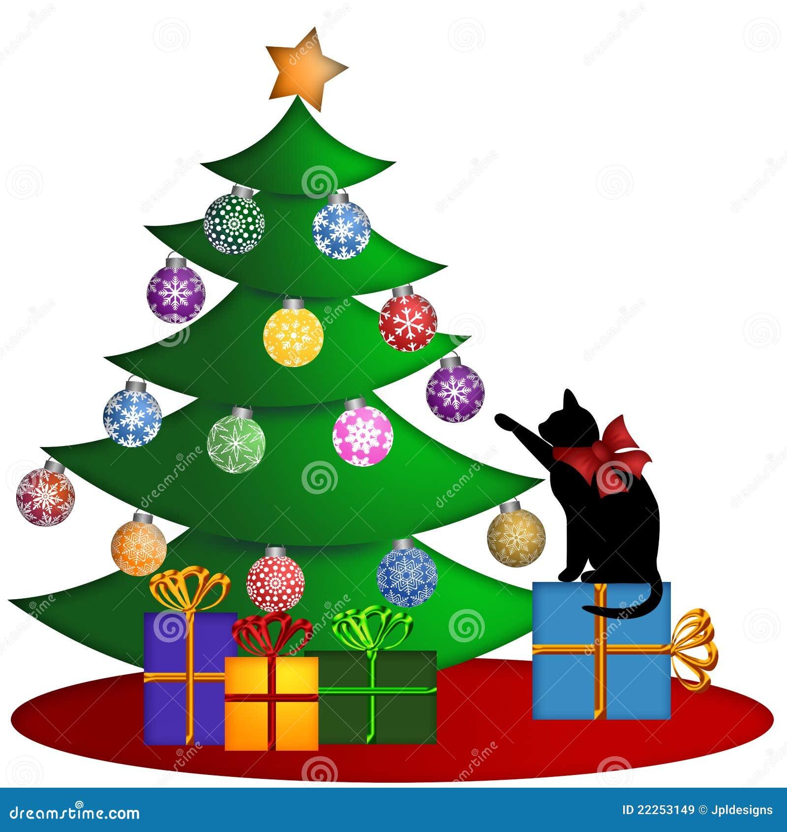 Weihnachtsbaum Mit Geschenk-Verzierungen Und Katze Stock Abbildung ...