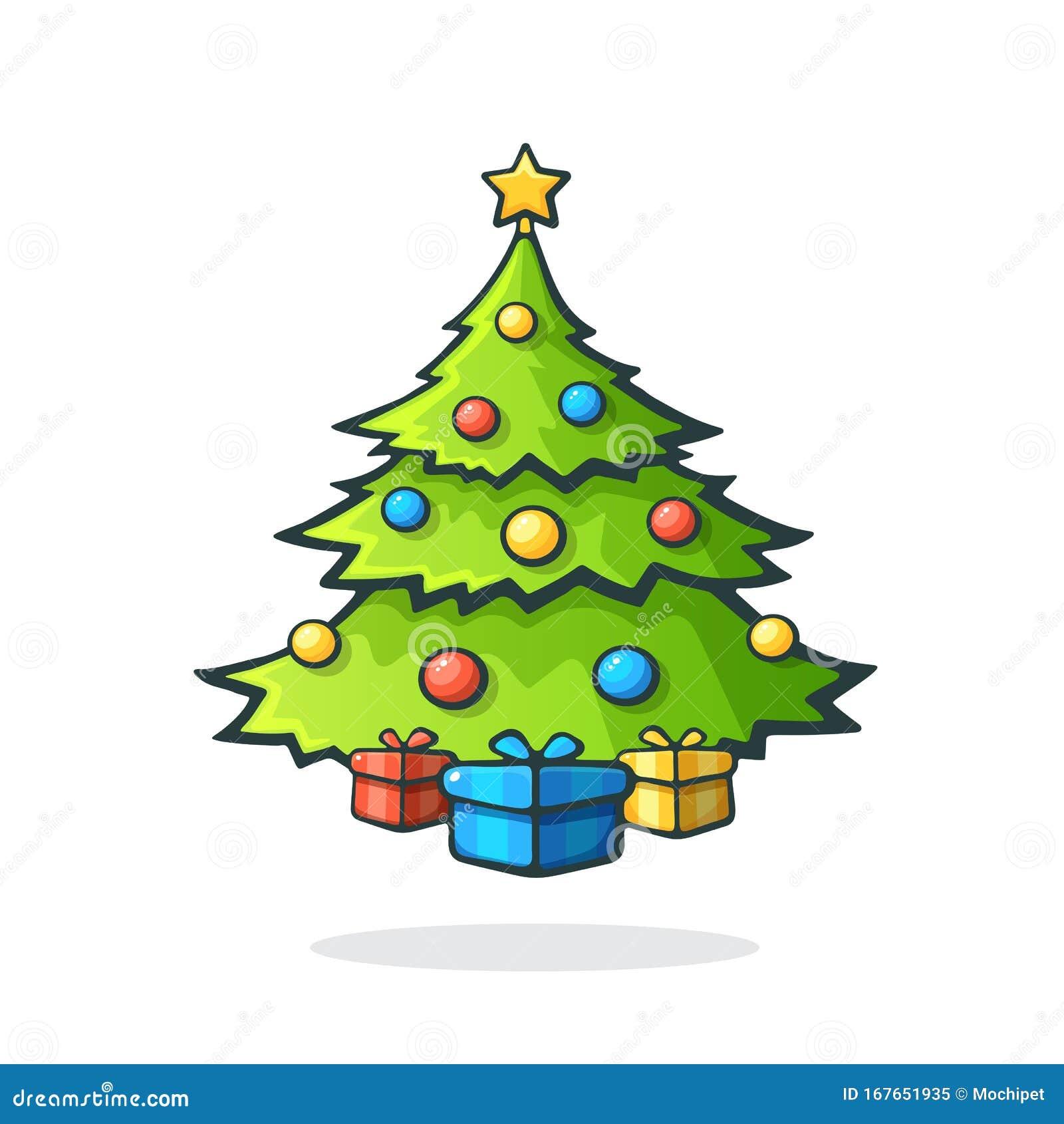 weihnachtsbaum mit geschenken darunter und einem stern auf