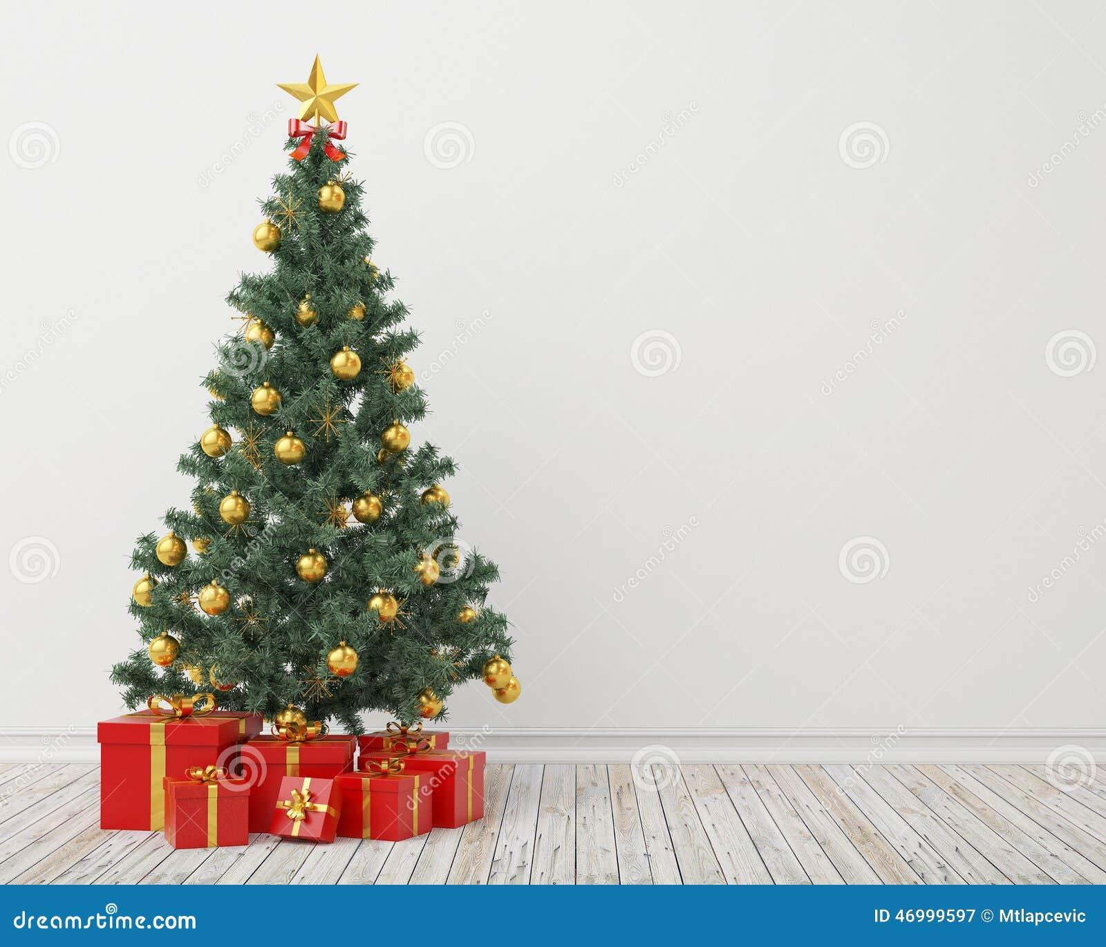 weihnachtsbaum mit geschenken im weinleseraum hintergrund. Black Bedroom Furniture Sets. Home Design Ideas
