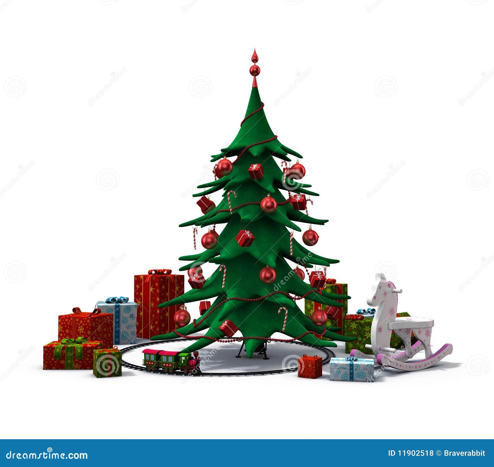 weihnachtsbaum mit geschenken und spielwaren stock. Black Bedroom Furniture Sets. Home Design Ideas