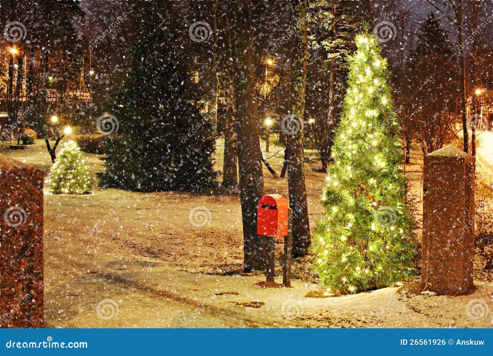 Weihnachtsbaum Mit Leuchten Stockfoto - Bild von nacht, kalt: 26561926