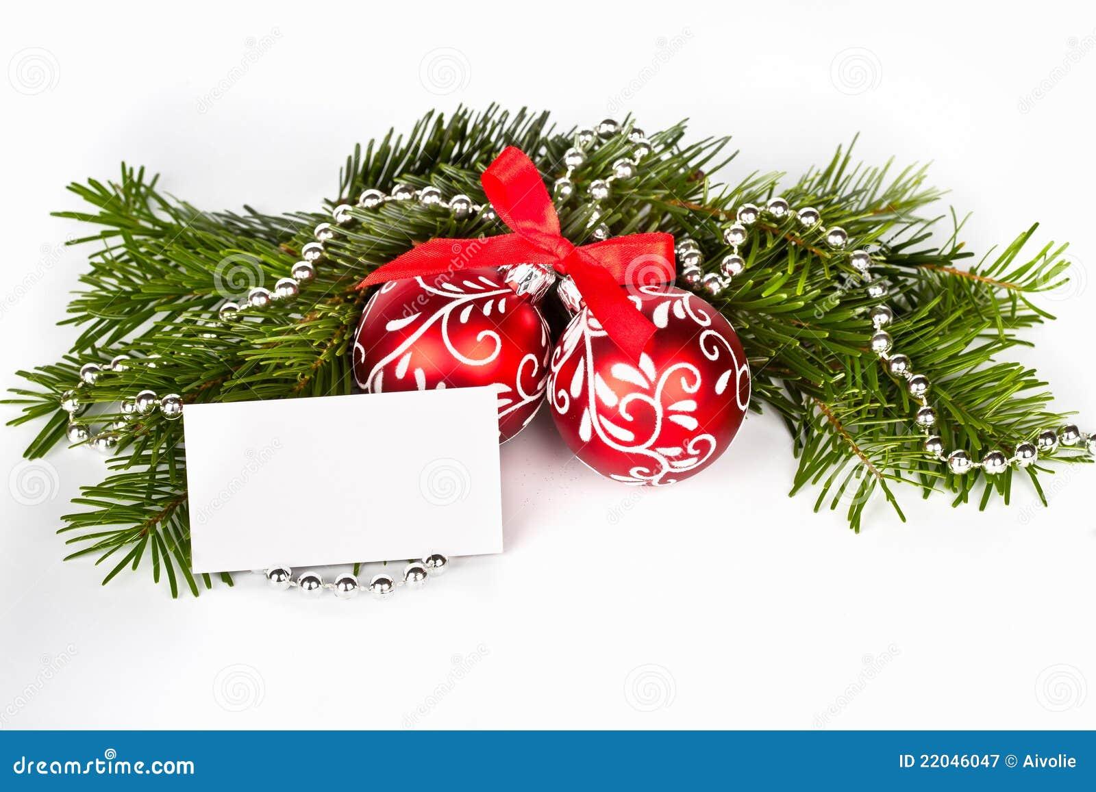 weihnachtsbaum mit roten kugeln und gru karte lizenzfreie. Black Bedroom Furniture Sets. Home Design Ideas