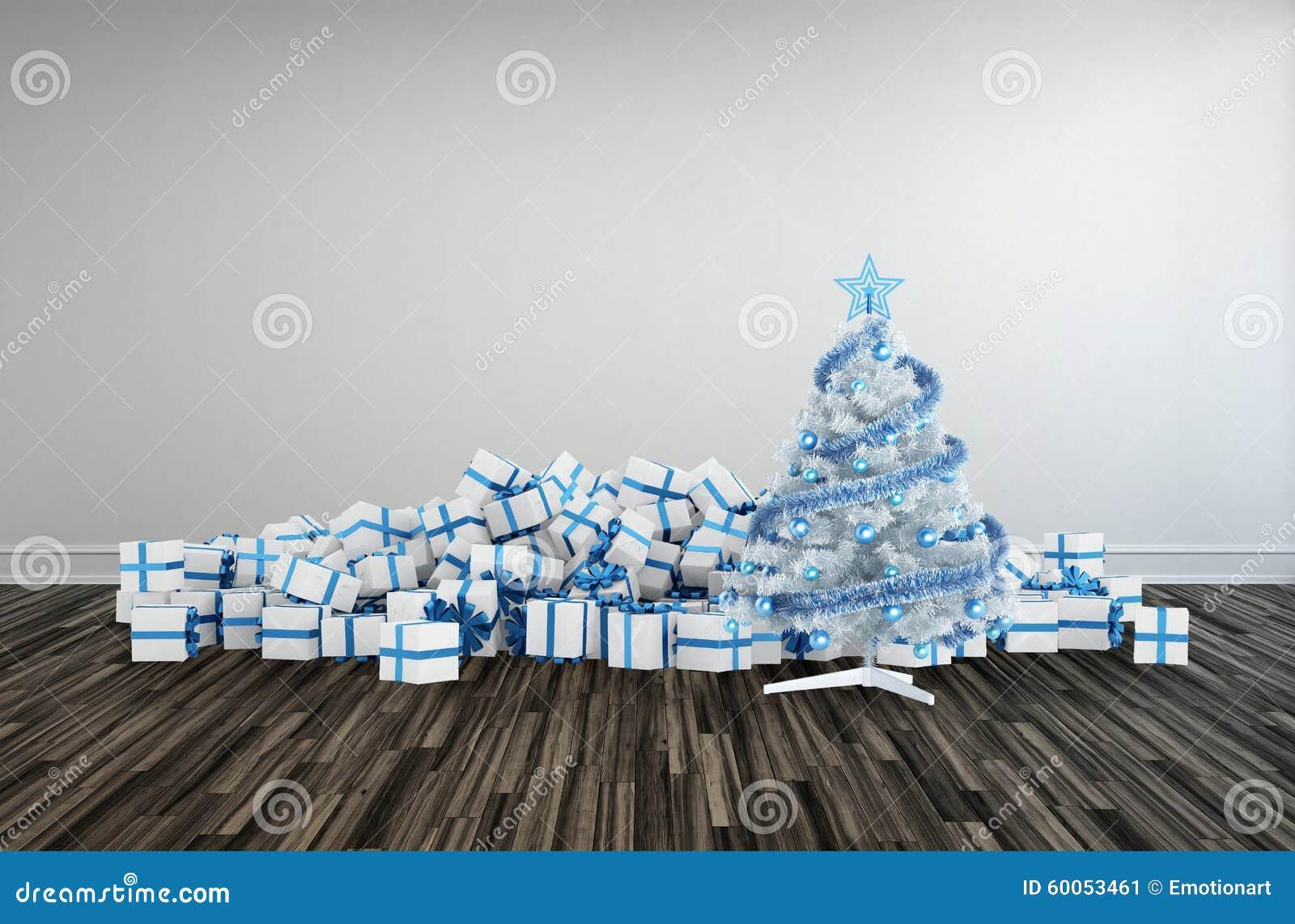 Weihnachtsbaum und Geschenke für eine große Familie