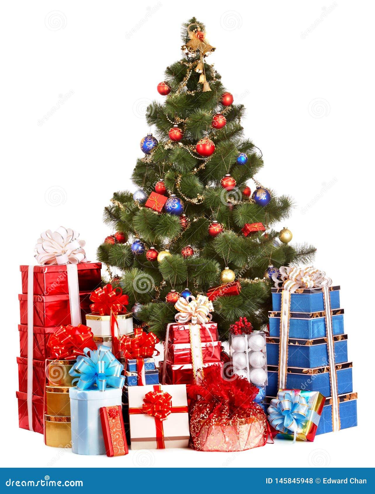 Weihnachtsbaum und Gruppengeschenkkasten