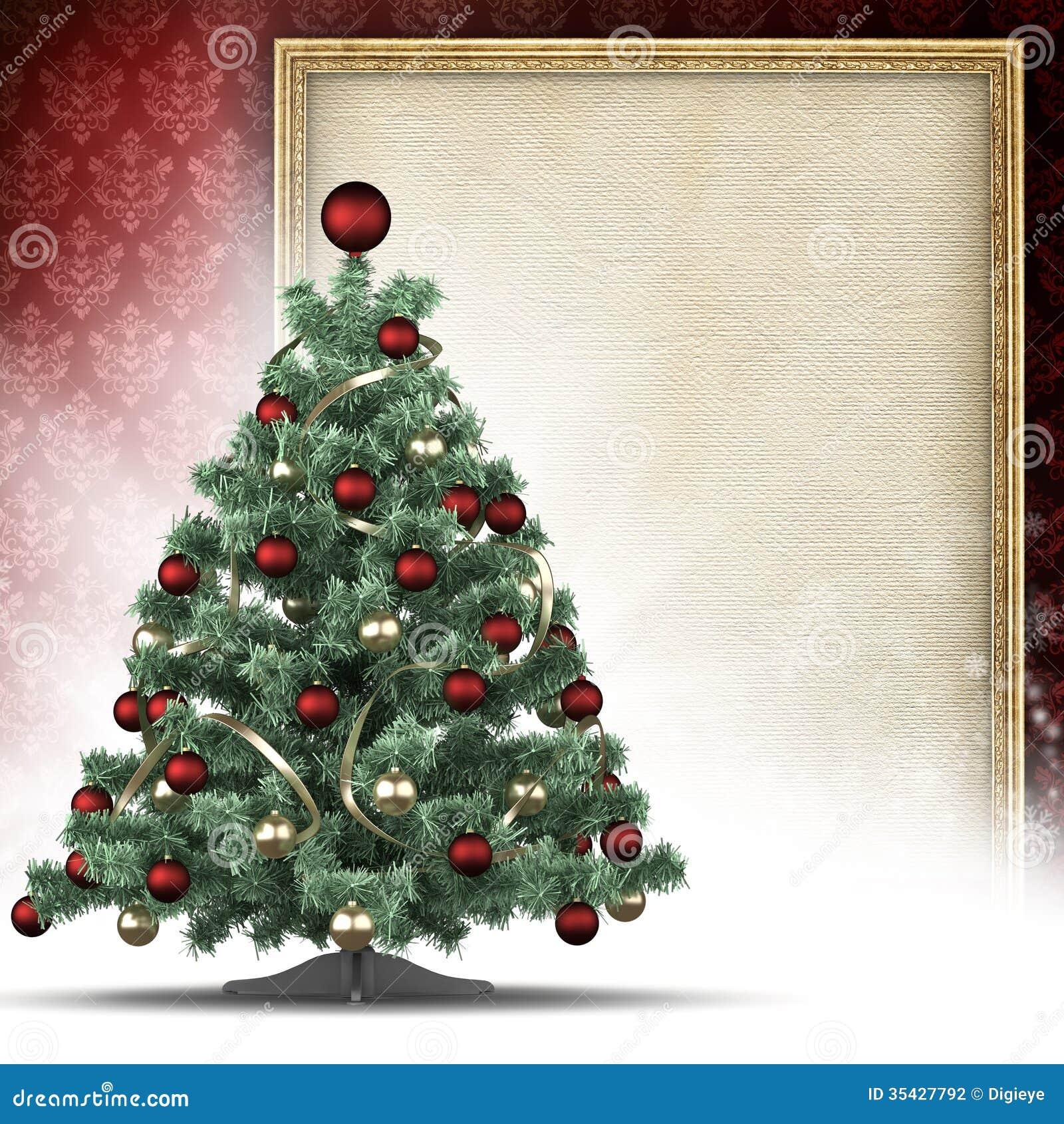 Weihnachtsbaum Und Papier Bedecken Im Bilderrahmen Stock Abbildung ...
