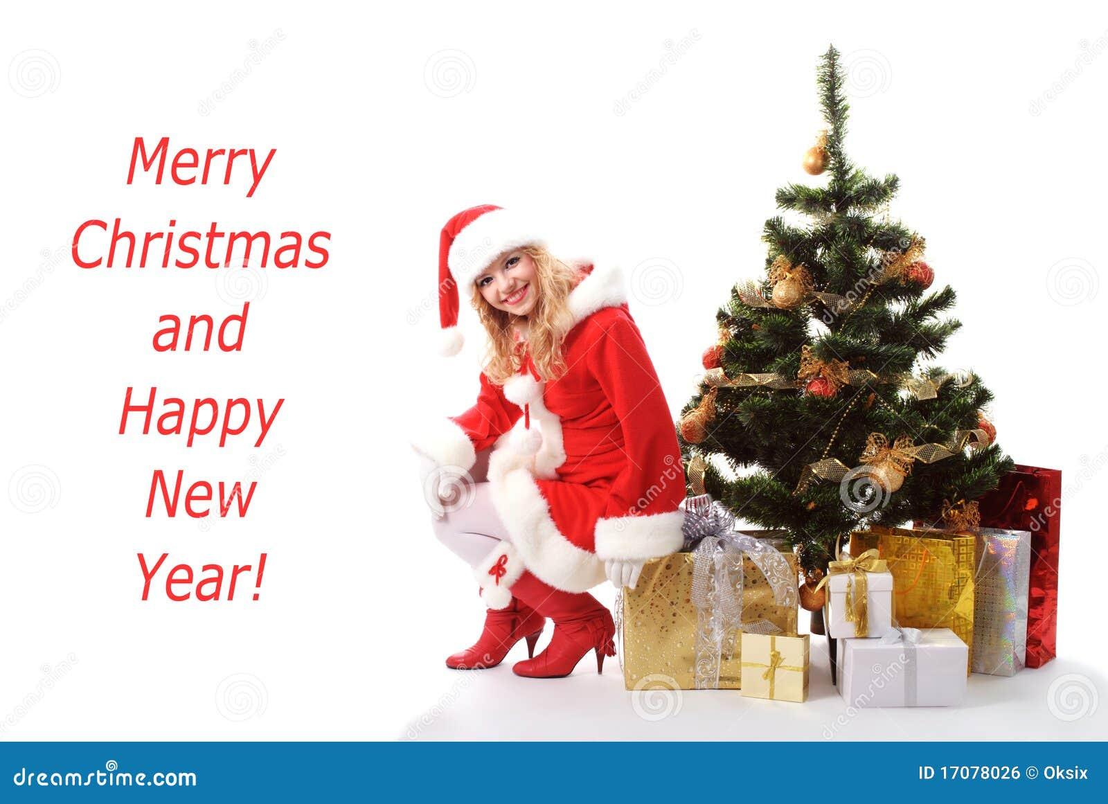 Weihnachtsbaum und Sankt-Mädchen