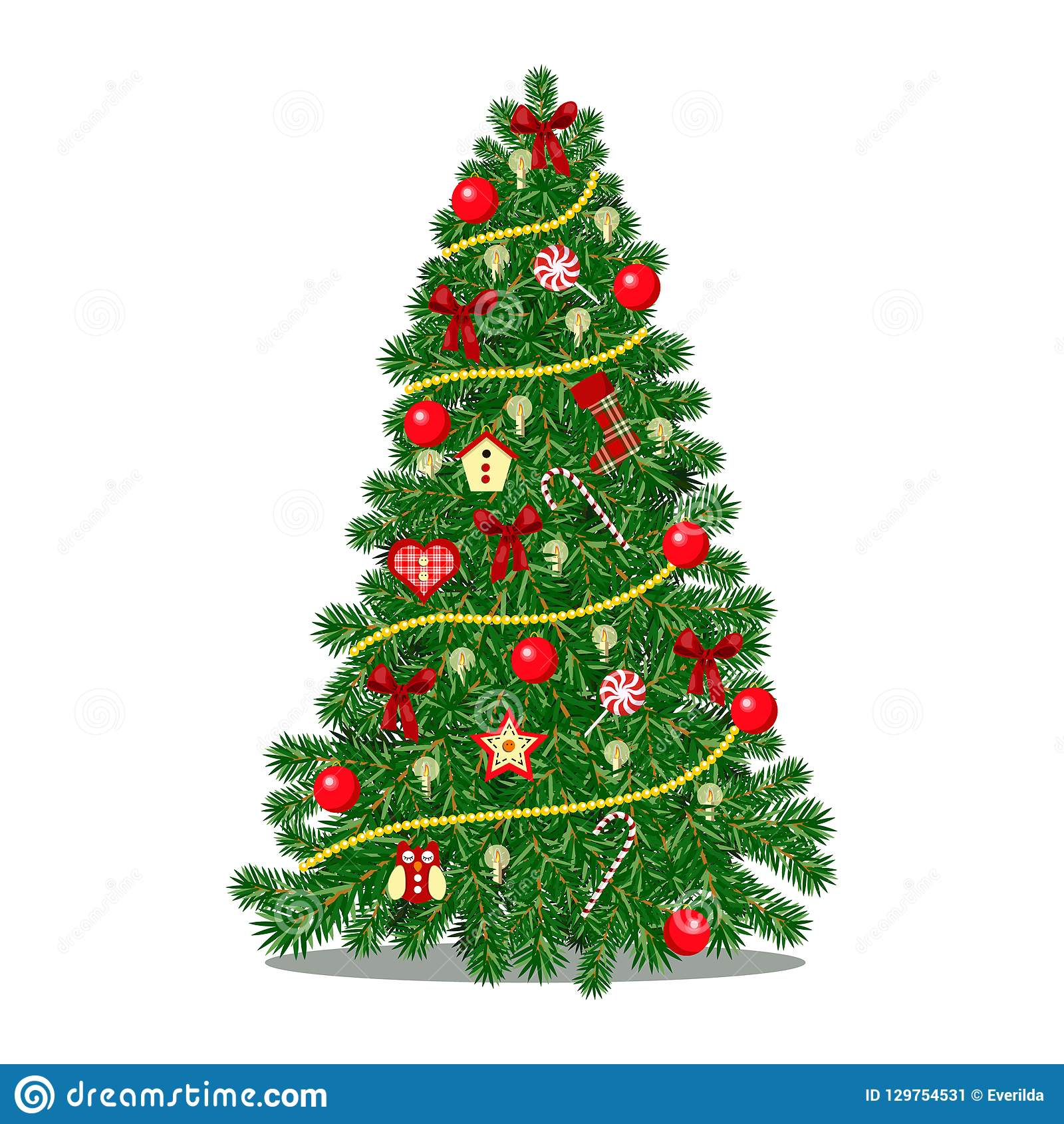 Weihnachtsbaum Rot.Weihnachtsbaum Verziert Mit Konfettipailletten Und Glaskugeln Im