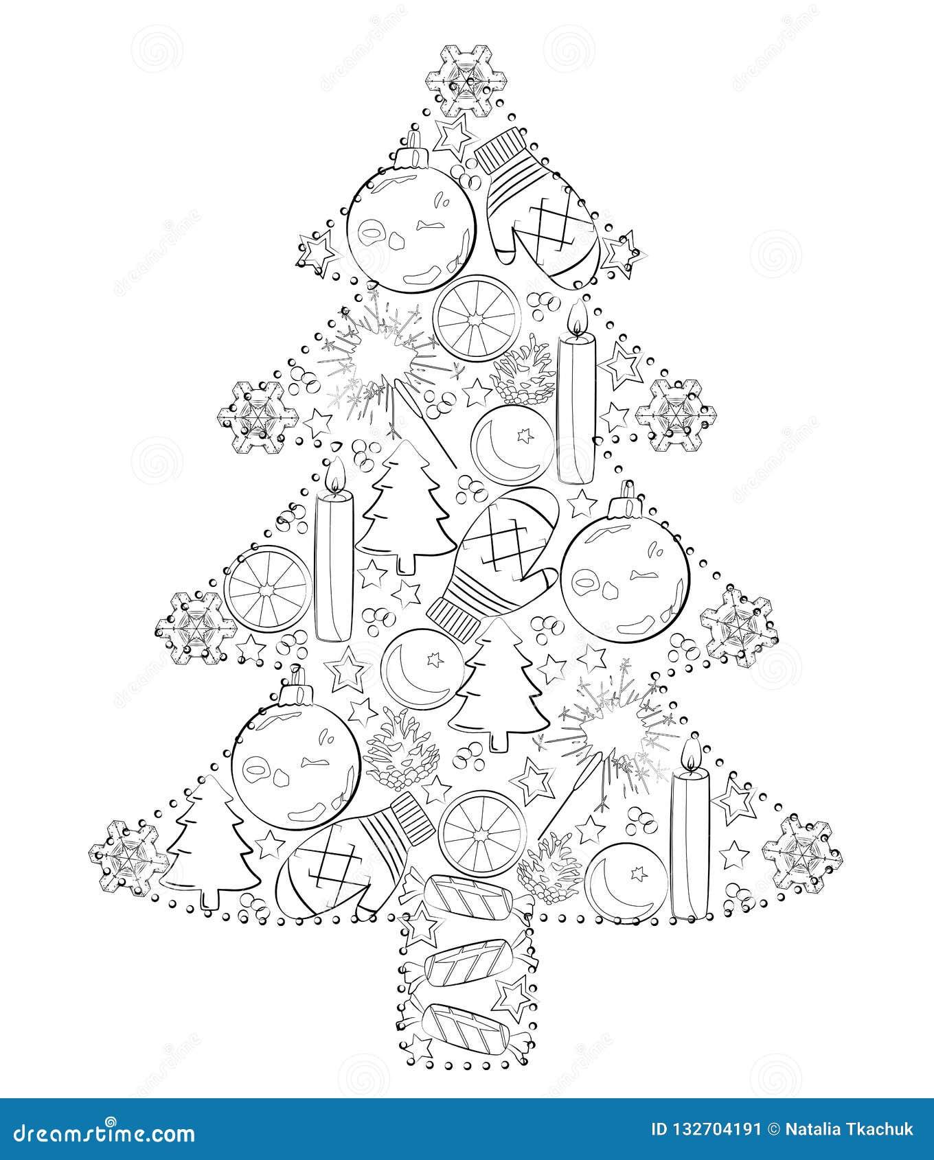 Weihnachtsbaum Schwarz Weiß.Weihnachtsbaum Von Spielwaren Schwarzweiss Vektorillustration Stock