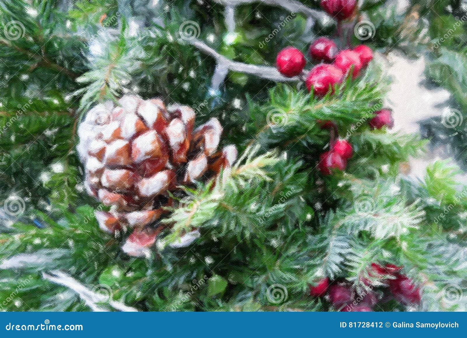 Weihnachtsbaumastdekoration mit roten Beeren