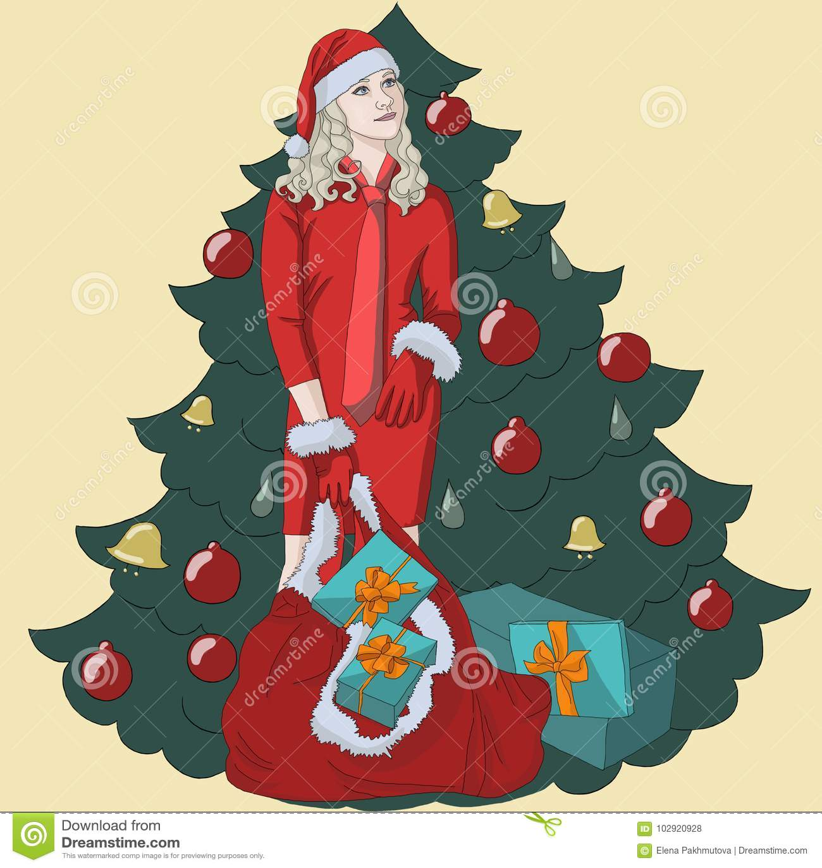 Weihnachtsbaumleute des Weihnachtsbaum-Glückkastenjahres stellen lächelnde neue weißem Kind des Weihnachtsmann-Feierwinters glück