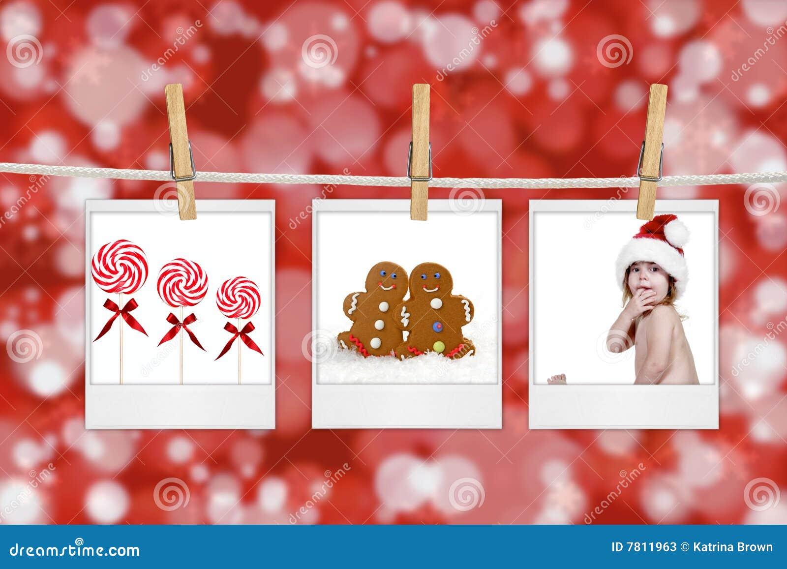 weihnachtsbilder die von einem seil h ngen stockbild. Black Bedroom Furniture Sets. Home Design Ideas