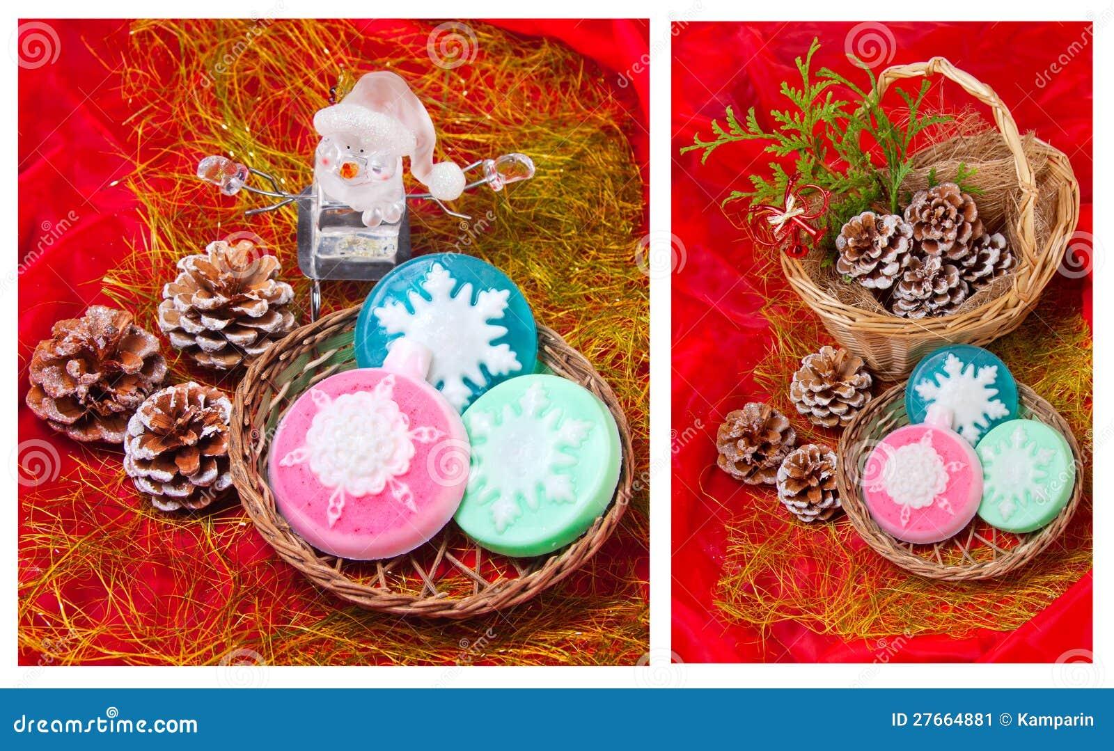 Weihnachtscollage Mit Schneeflocken - Seife Stockbild - Bild von ...