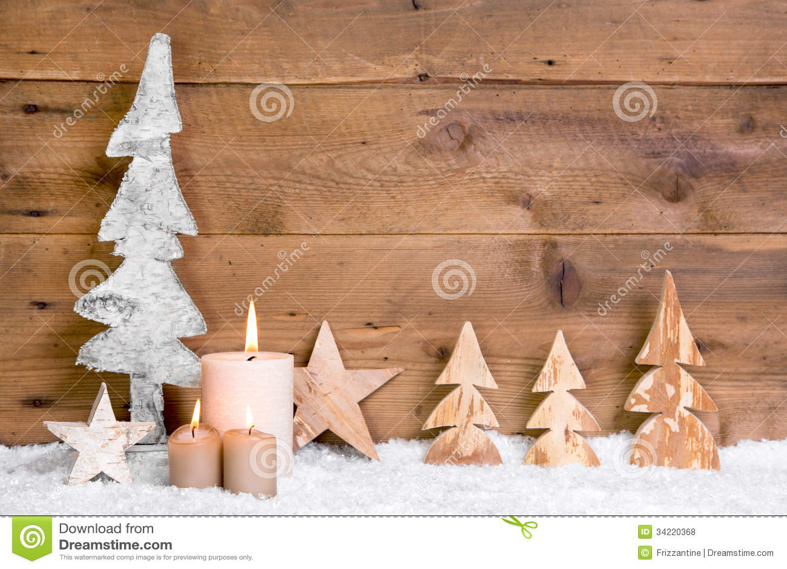 weihnachtsdekoration h lzerne b ume sterne kerzen und. Black Bedroom Furniture Sets. Home Design Ideas