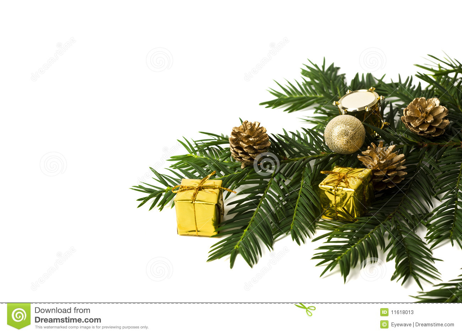 weihnachtsdekoration und tannenzweig mit exemplarplatz stockbild bild von geschenk getrennt. Black Bedroom Furniture Sets. Home Design Ideas