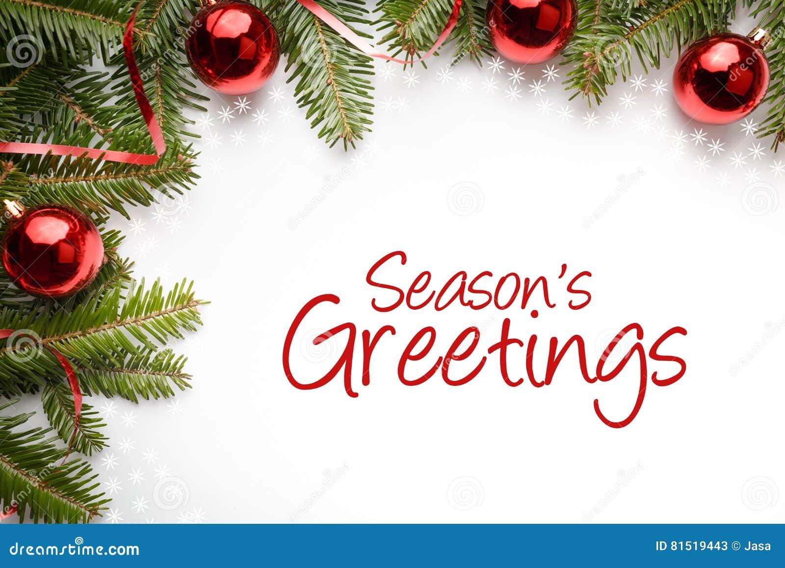 Weihnachtsdekorationen mit dem Gruß ` würzen ` s Grüße `