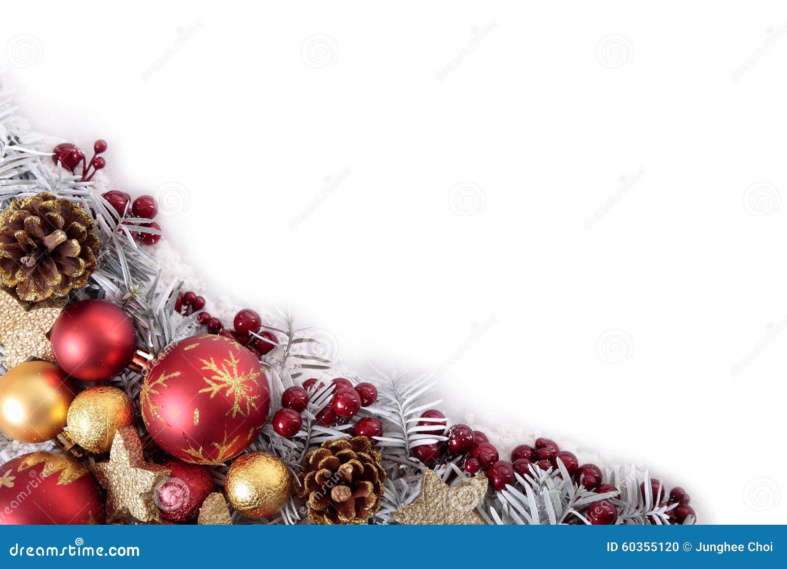 Weihnachtseckgrenzrahmen mit weißem Kopienraum
