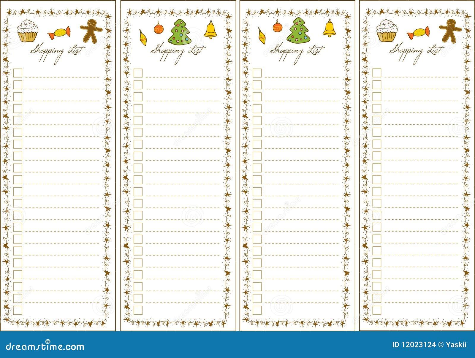 WeihnachtsEinkaufsliste vektor abbildung. Illustration von seite ...