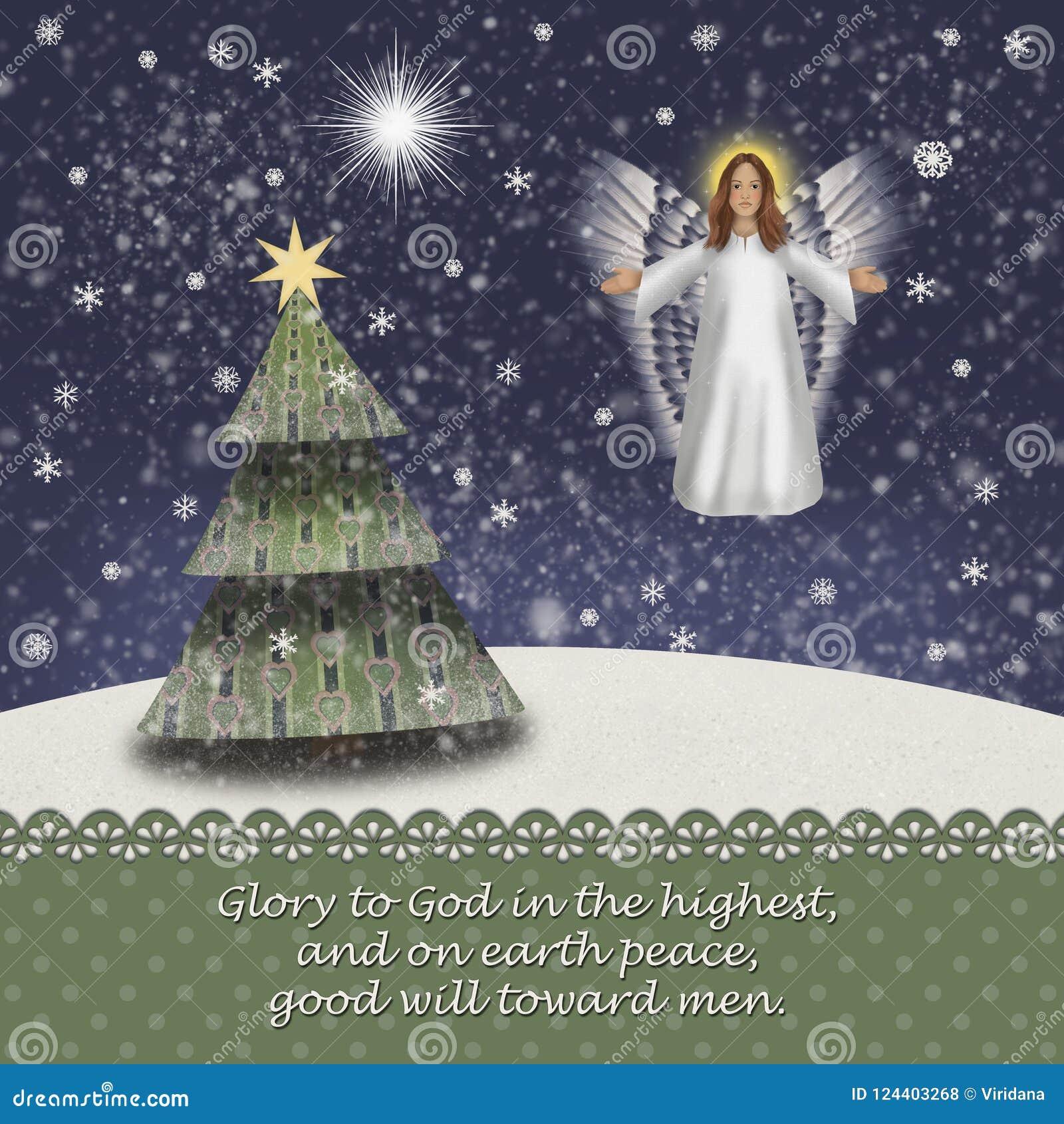 Weihnachtsengel in einer schneebedeckten Landschaft mit Weihnachtsbaum und dem Stern von Betlehem Luke 2 14