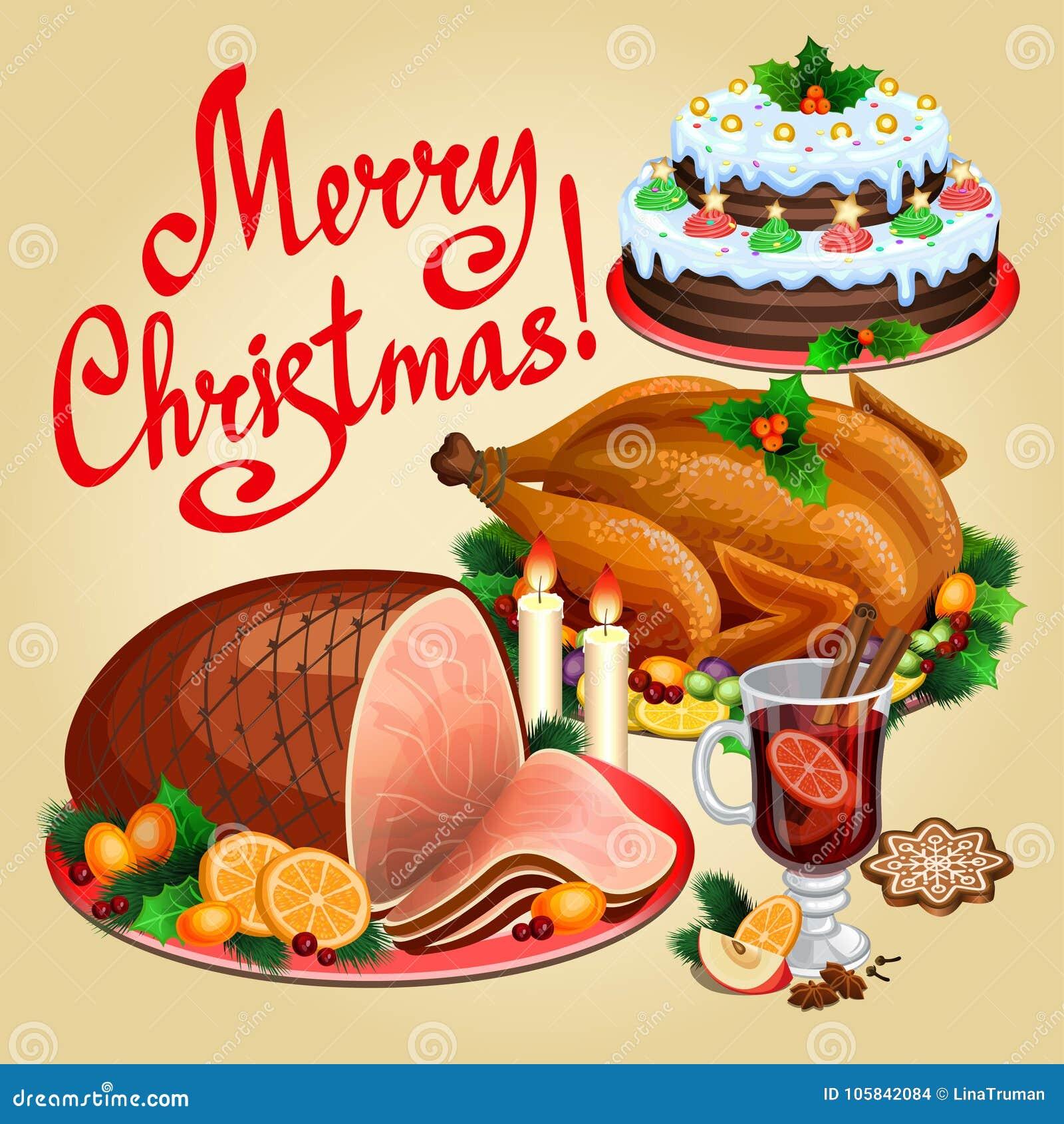 Amerikanisches Weihnachtsessen.Weihnachtsessen Traditionelles Weihnachtslebensmittel Und